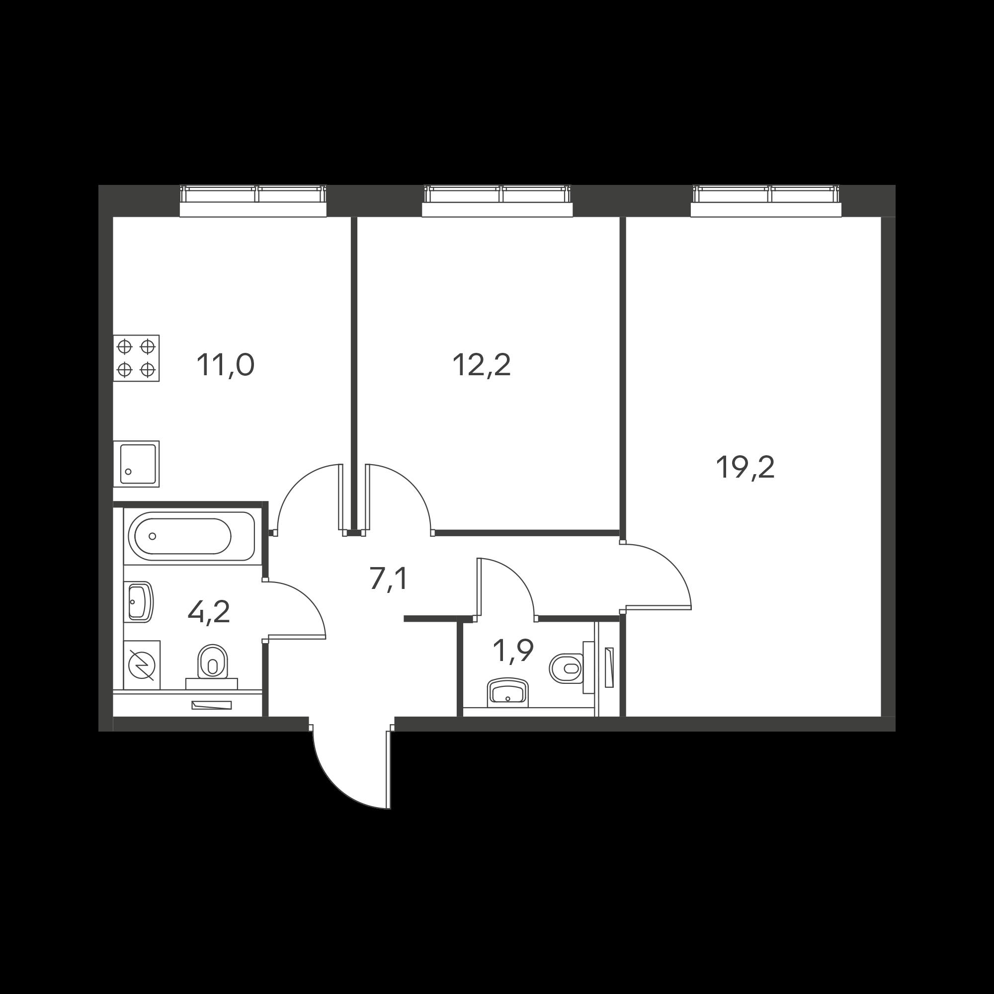 2-комнатная 55.6 м²