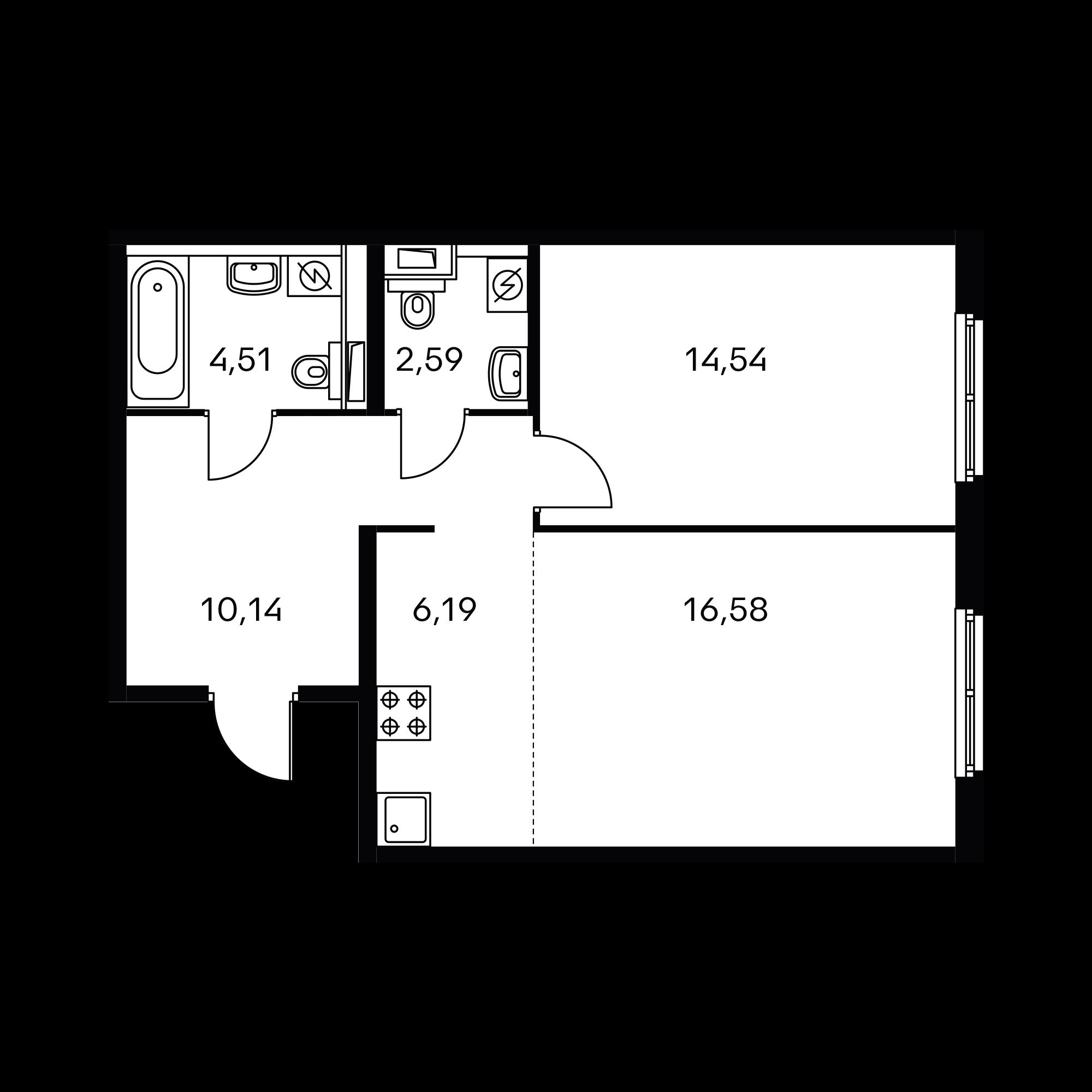 2-комнатная 54.55 м²