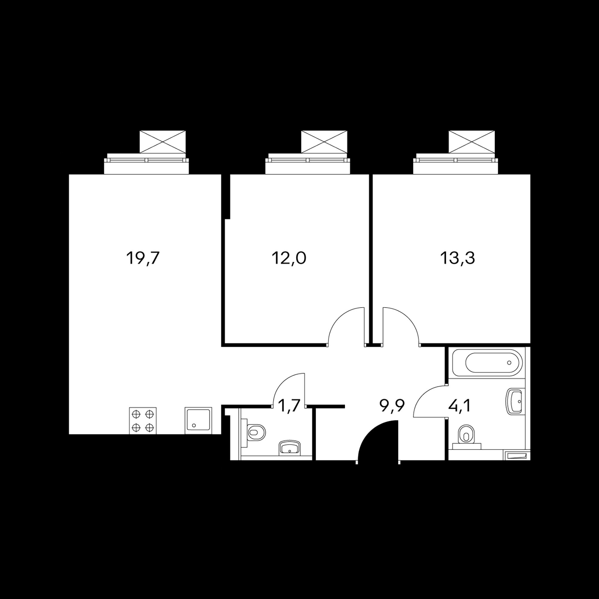 2-комнатные 60.7  м²