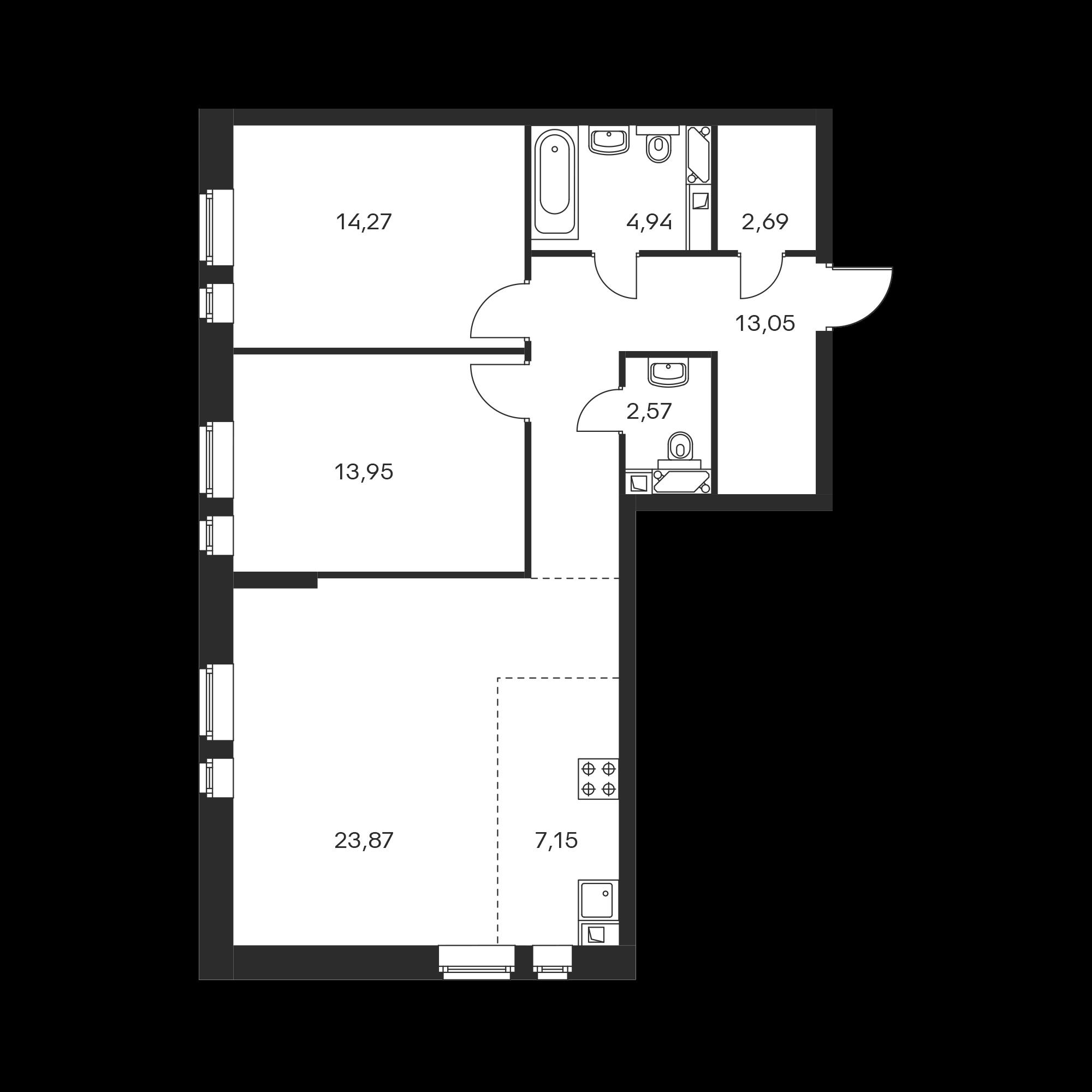 3-комнатная 82.49  м²