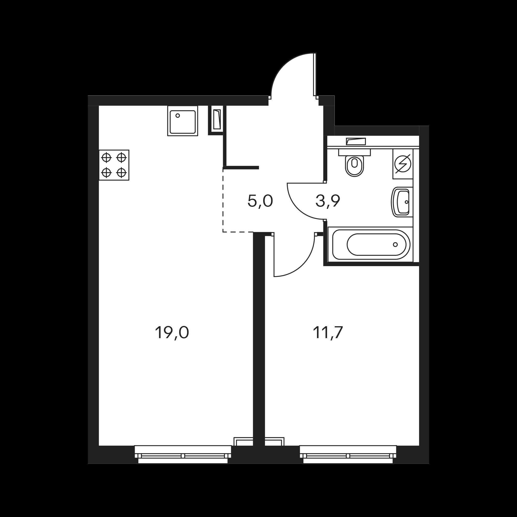 1-комнатная 39.6  м²