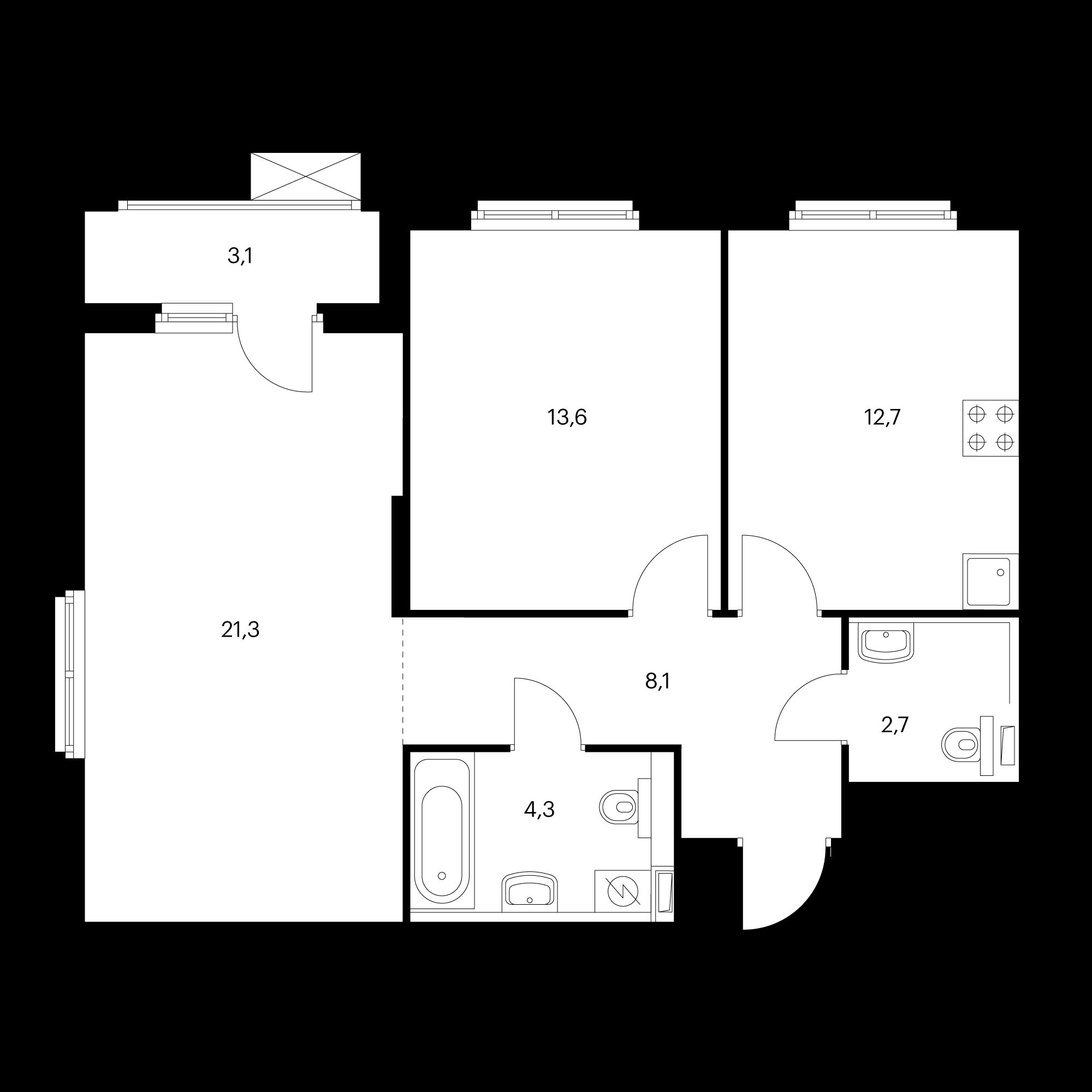 2-комнатная 64.3  м²