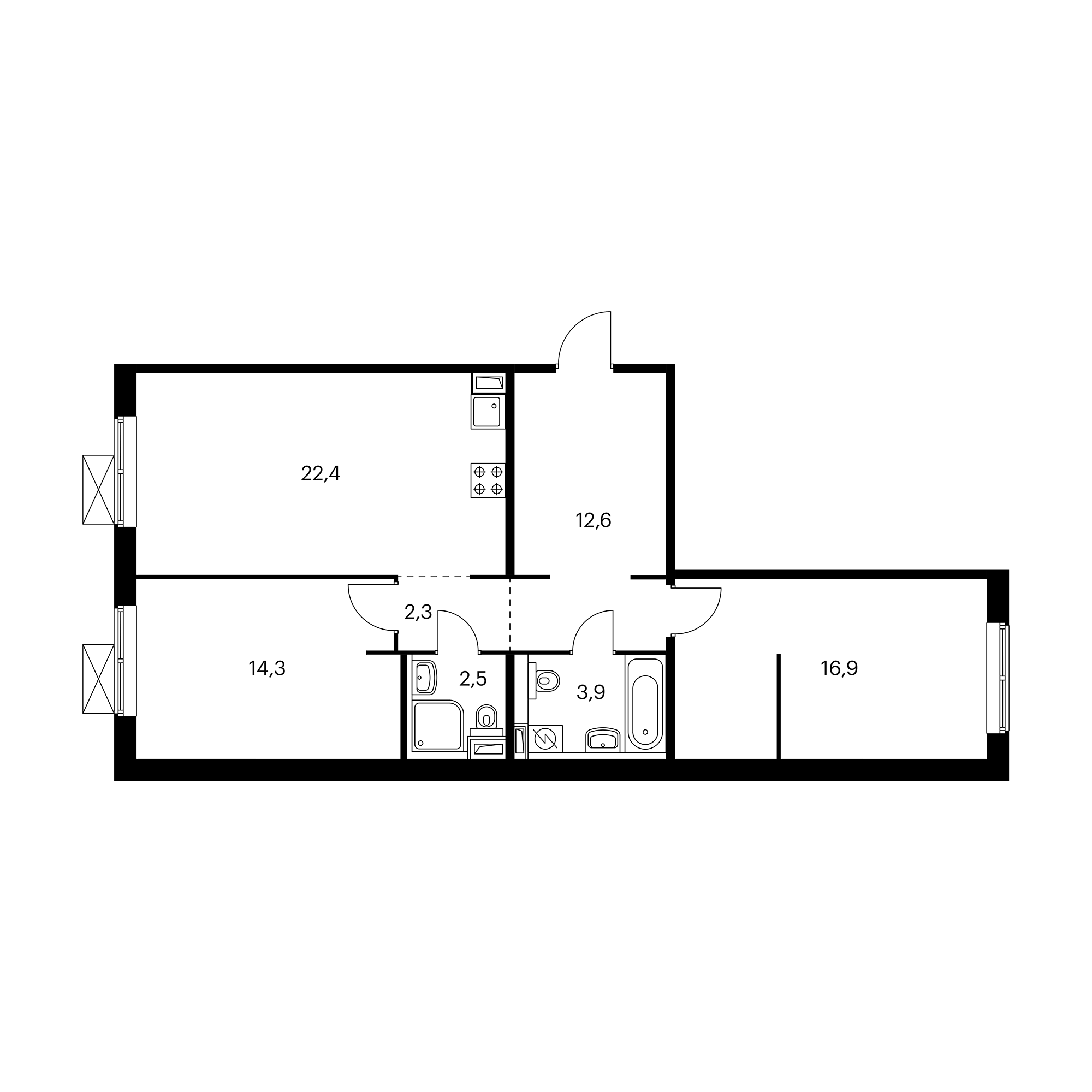 2-комнатная 74.9 м²
