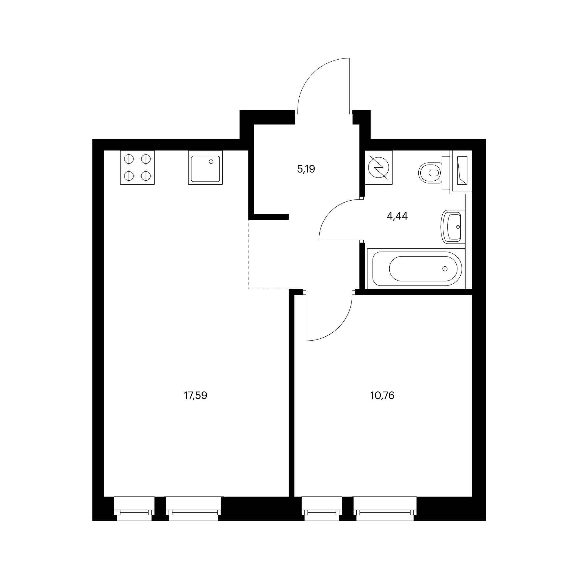 1-комнатная 37.98  м²