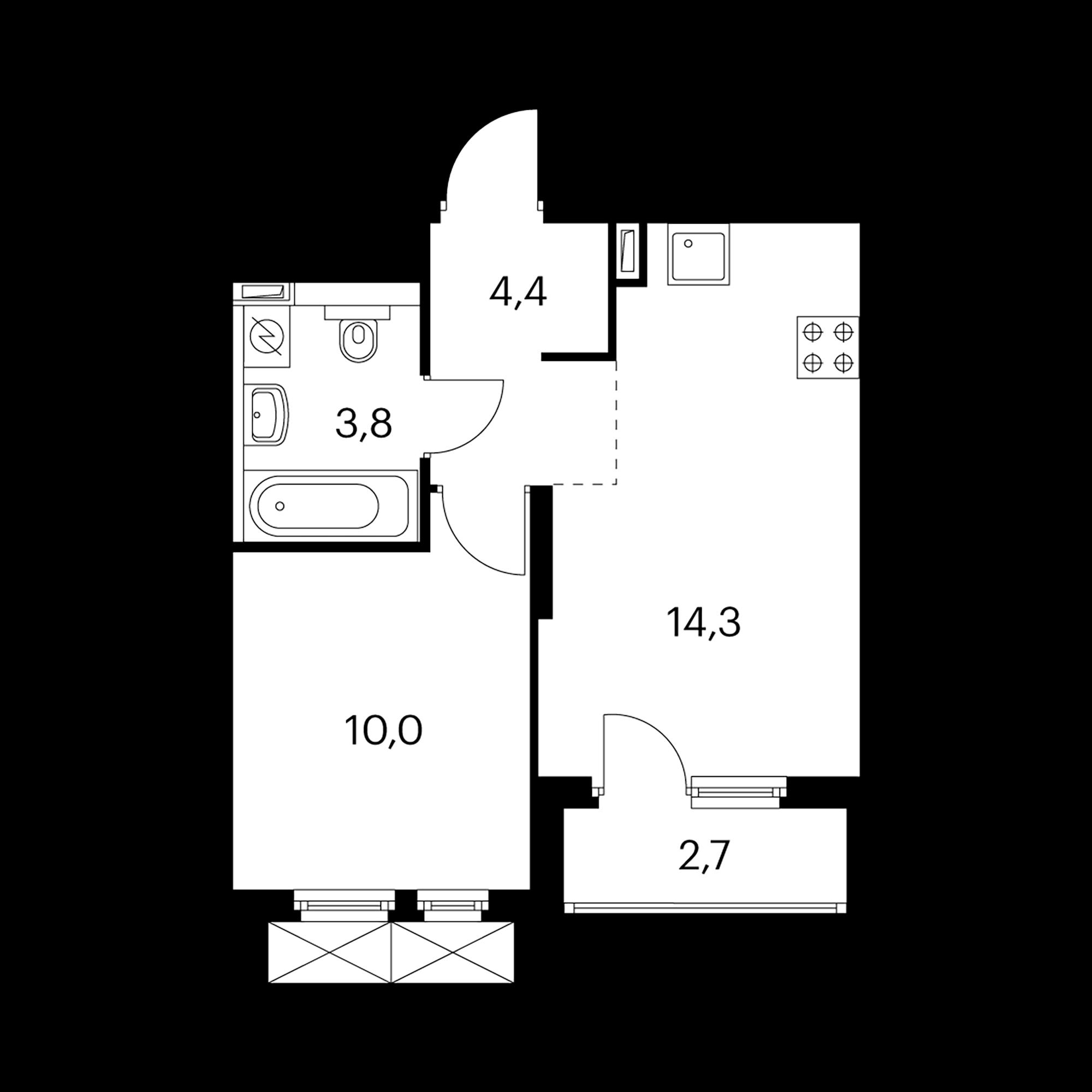 1-комнатная 33.8 м²