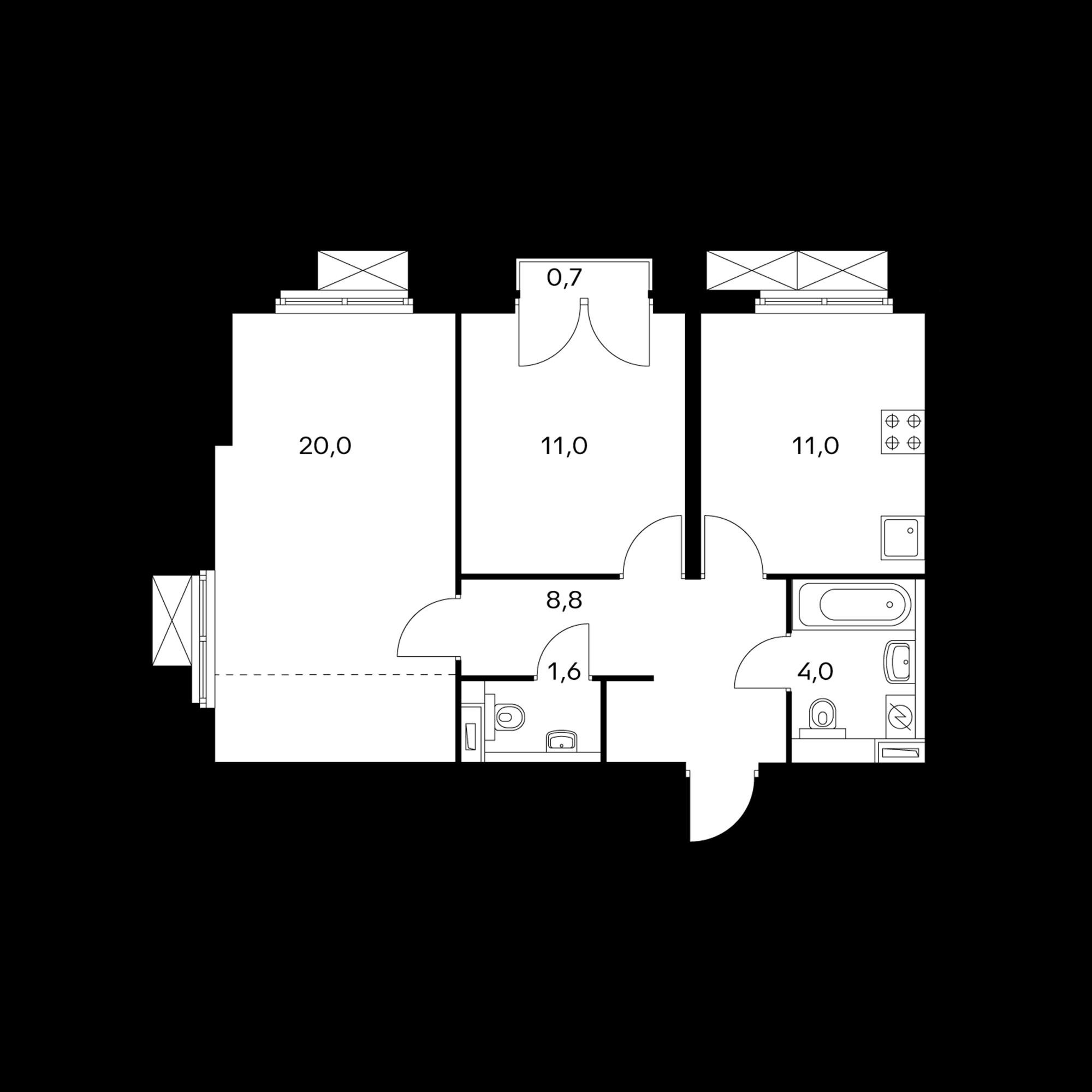 2-комнатная 56.6 м²