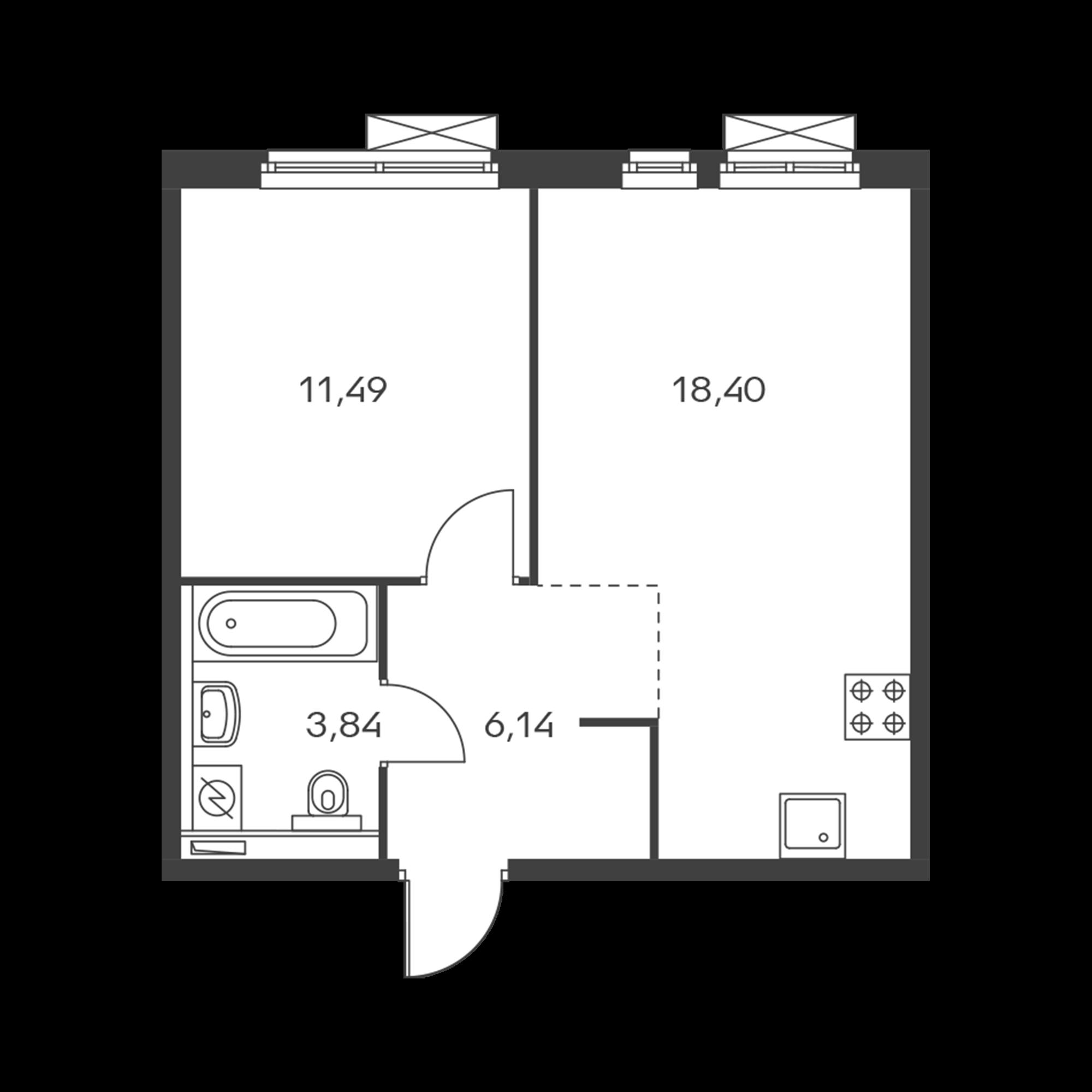 1-комнатная 39.87 м²