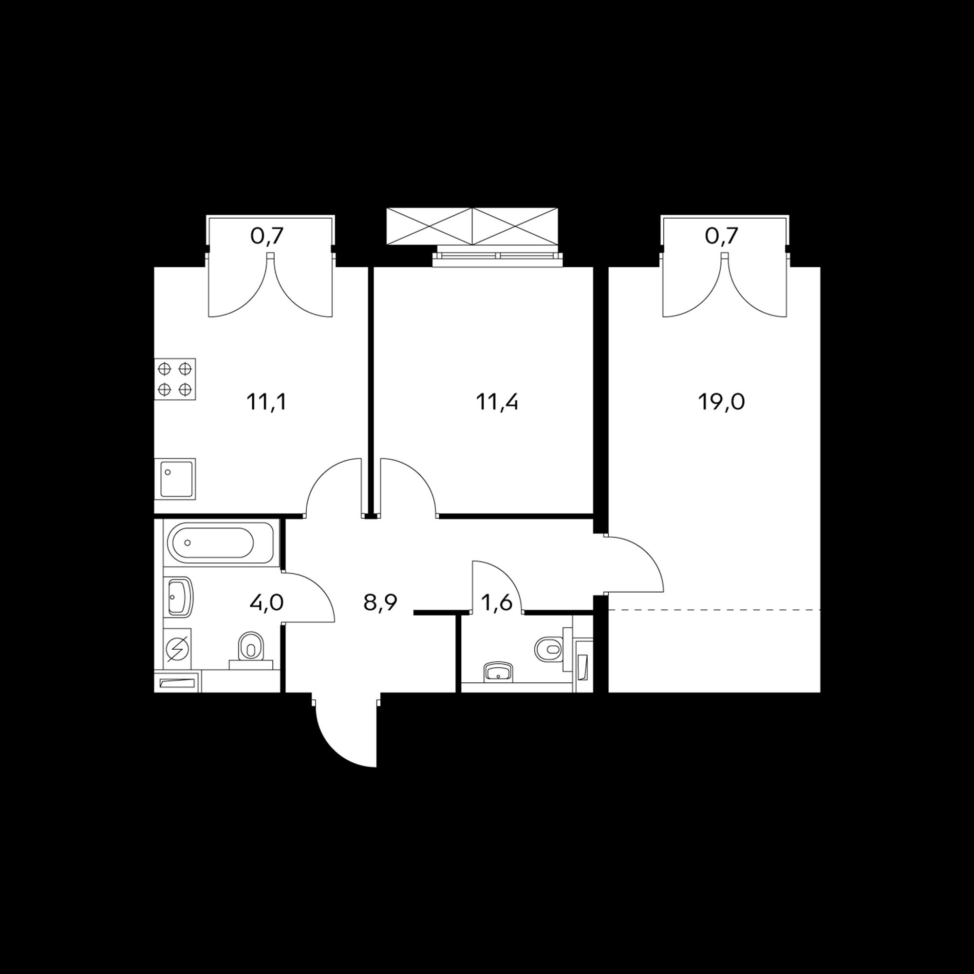 2-комнатная 56.4 м²
