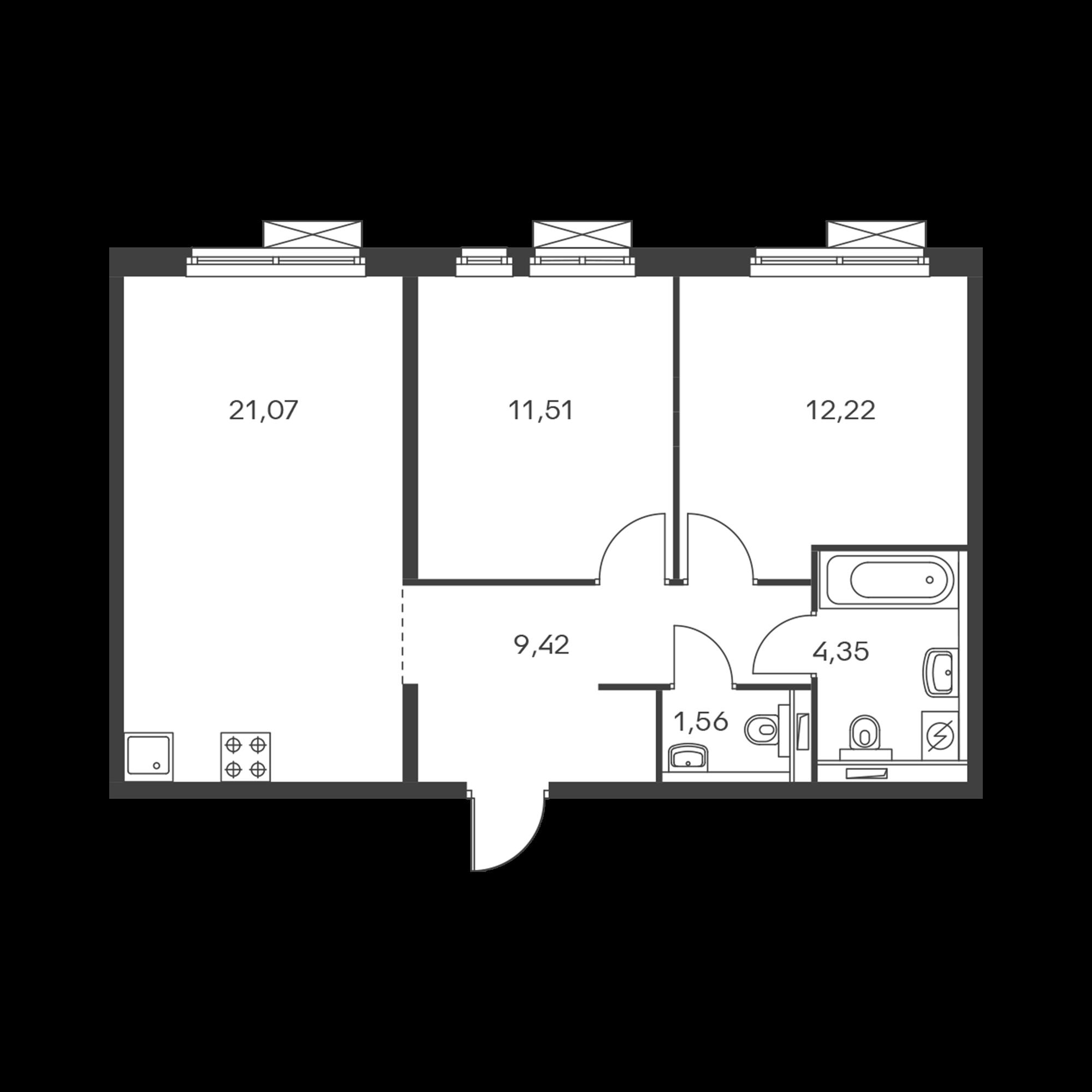 2-комнатная 60.12  м²