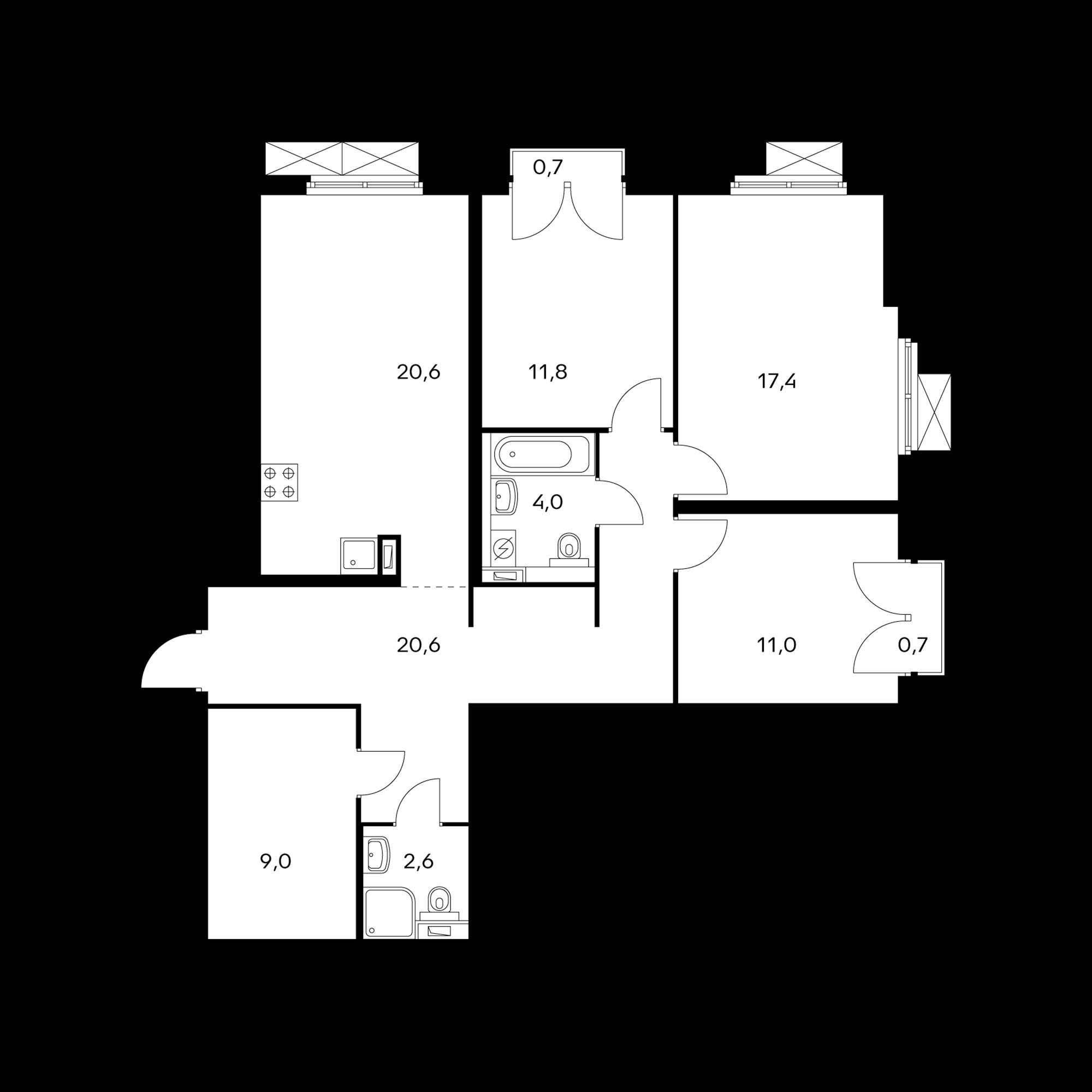 3-комнатная 97.4 м²