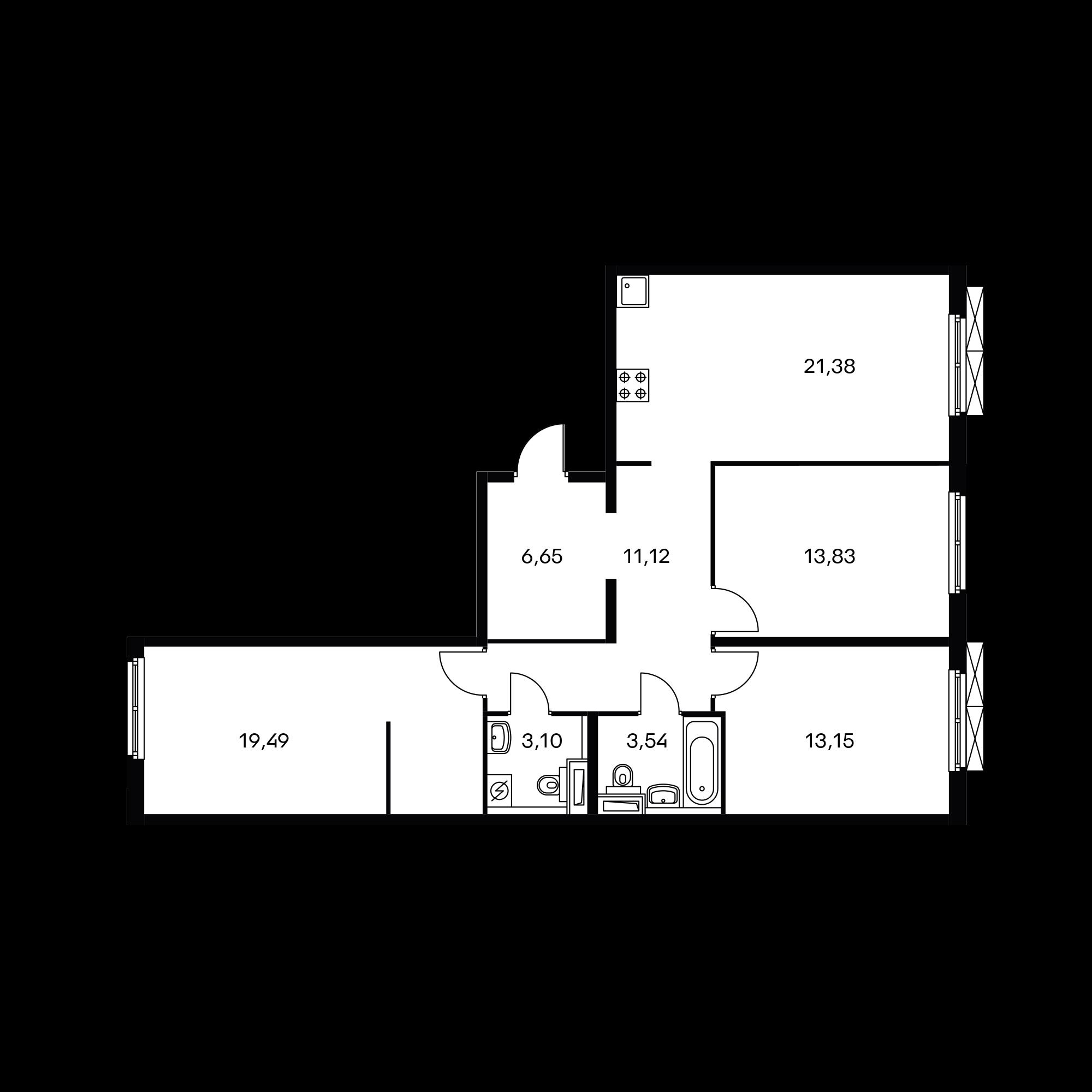 3-комнатная 92.23  м²