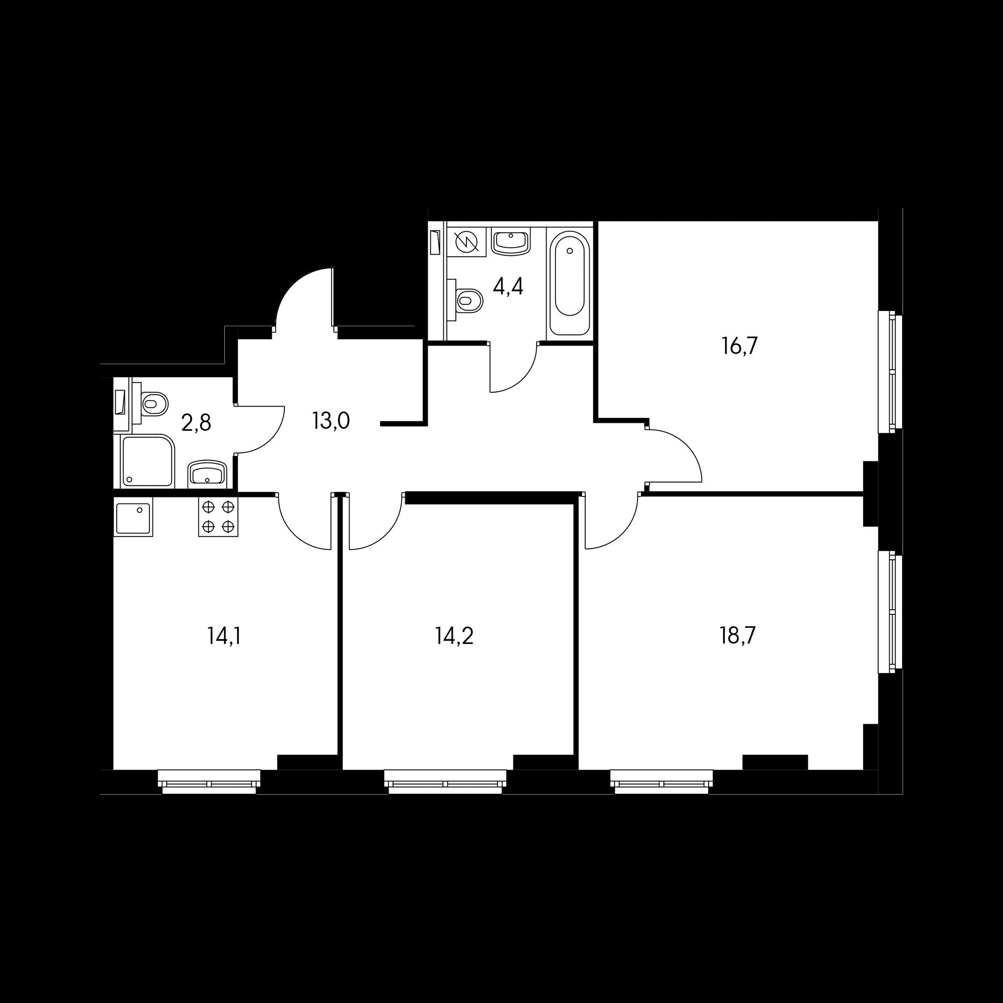3-комнатная 83.9  м²