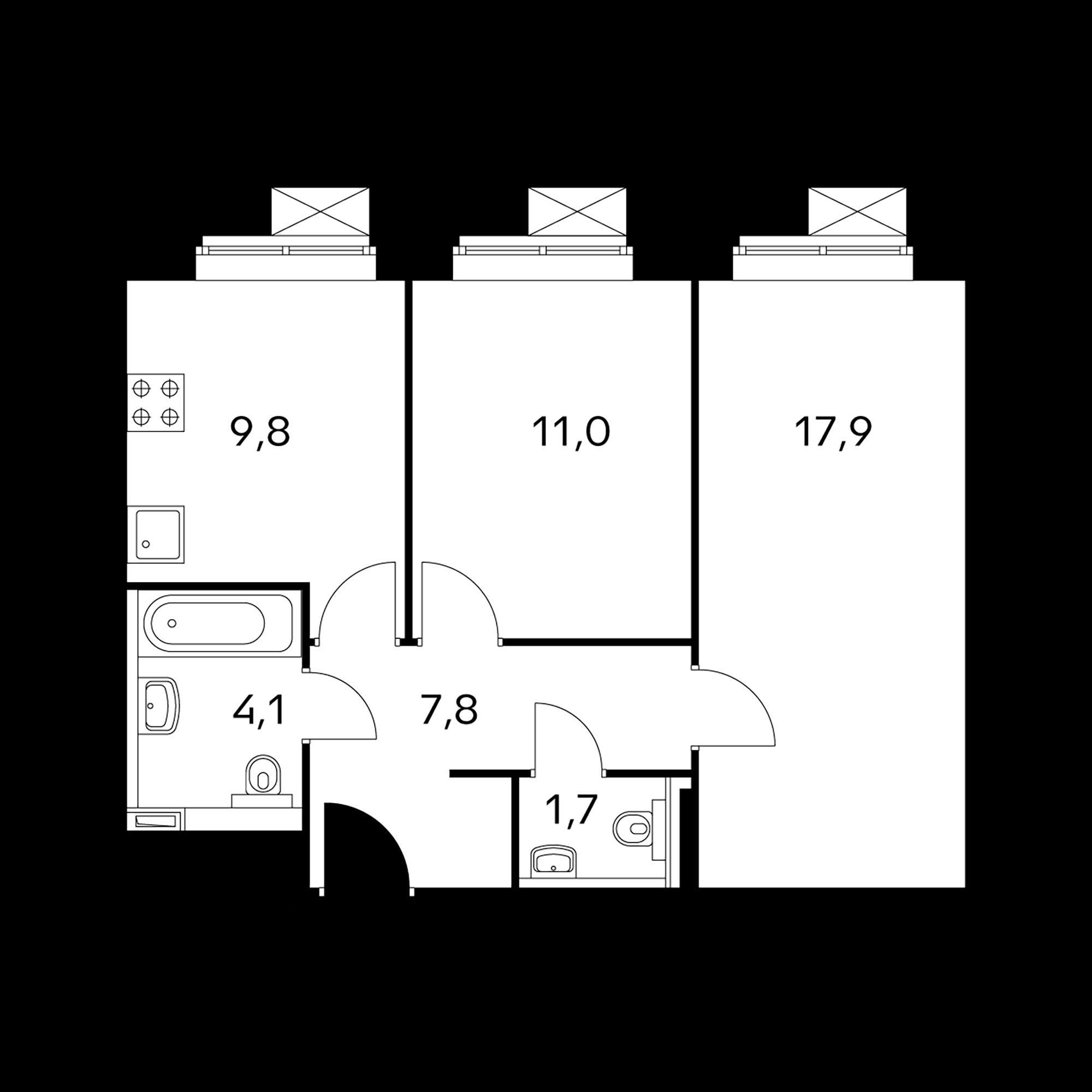 2-комнатные 52.3  м²