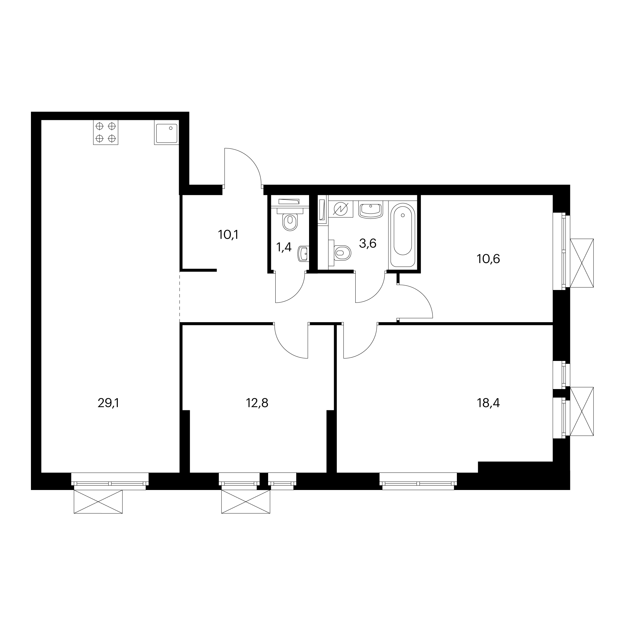3-комнатная 86  м²