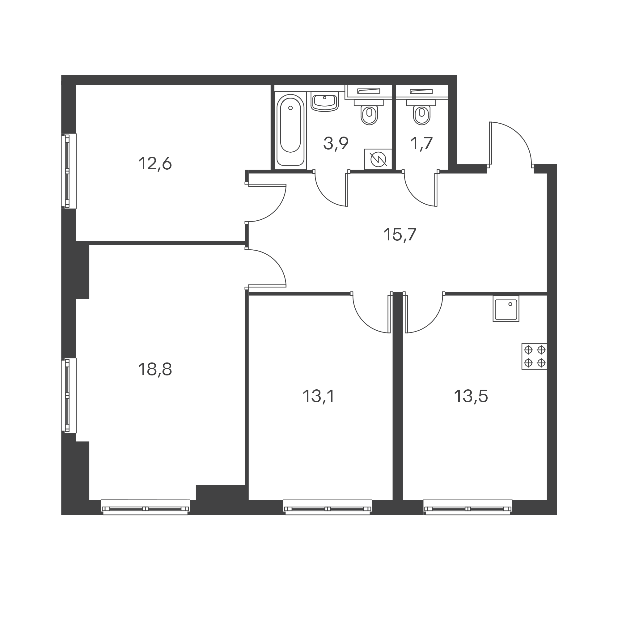 3-комнатная 79.3 м²