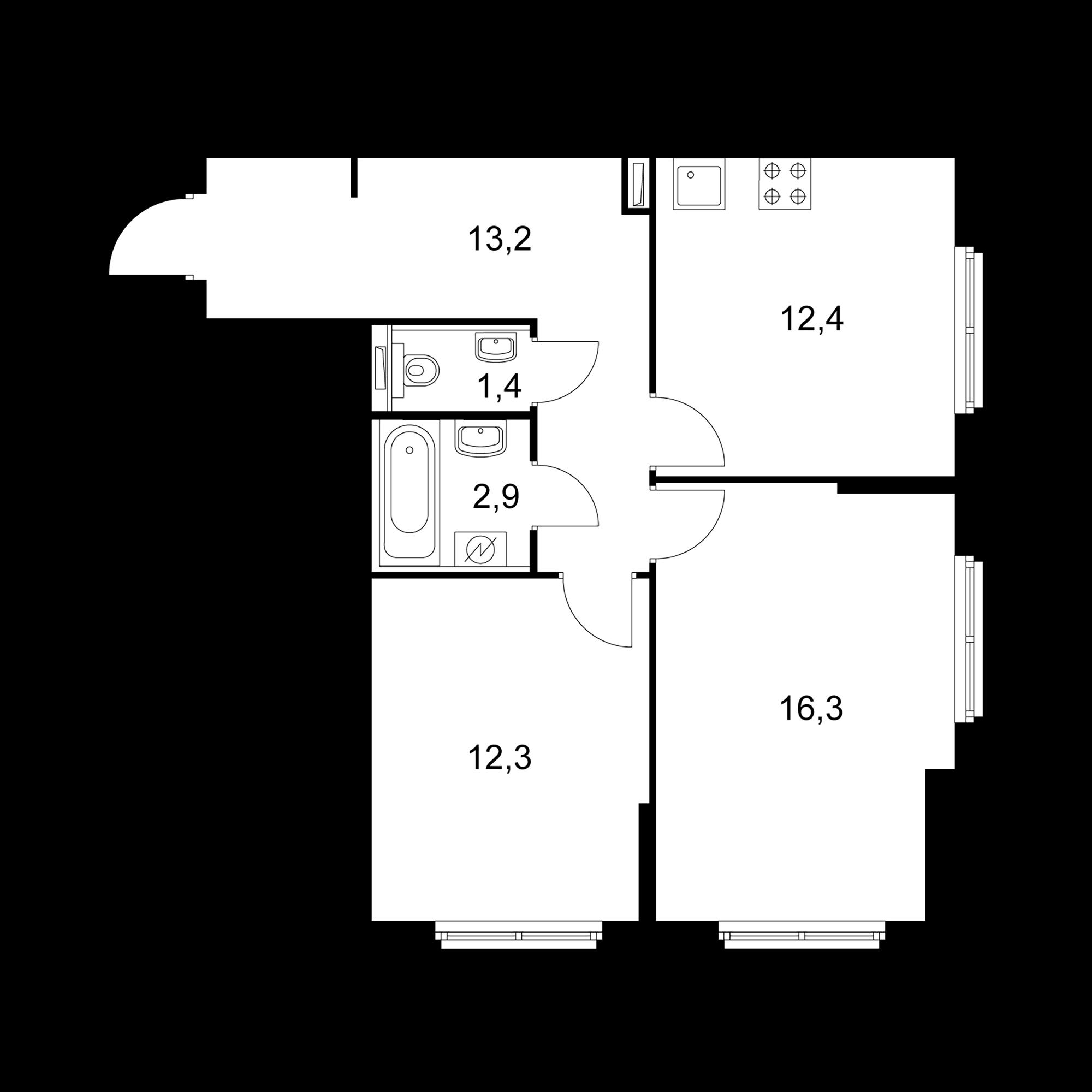 2-комнатная 58.5  м²