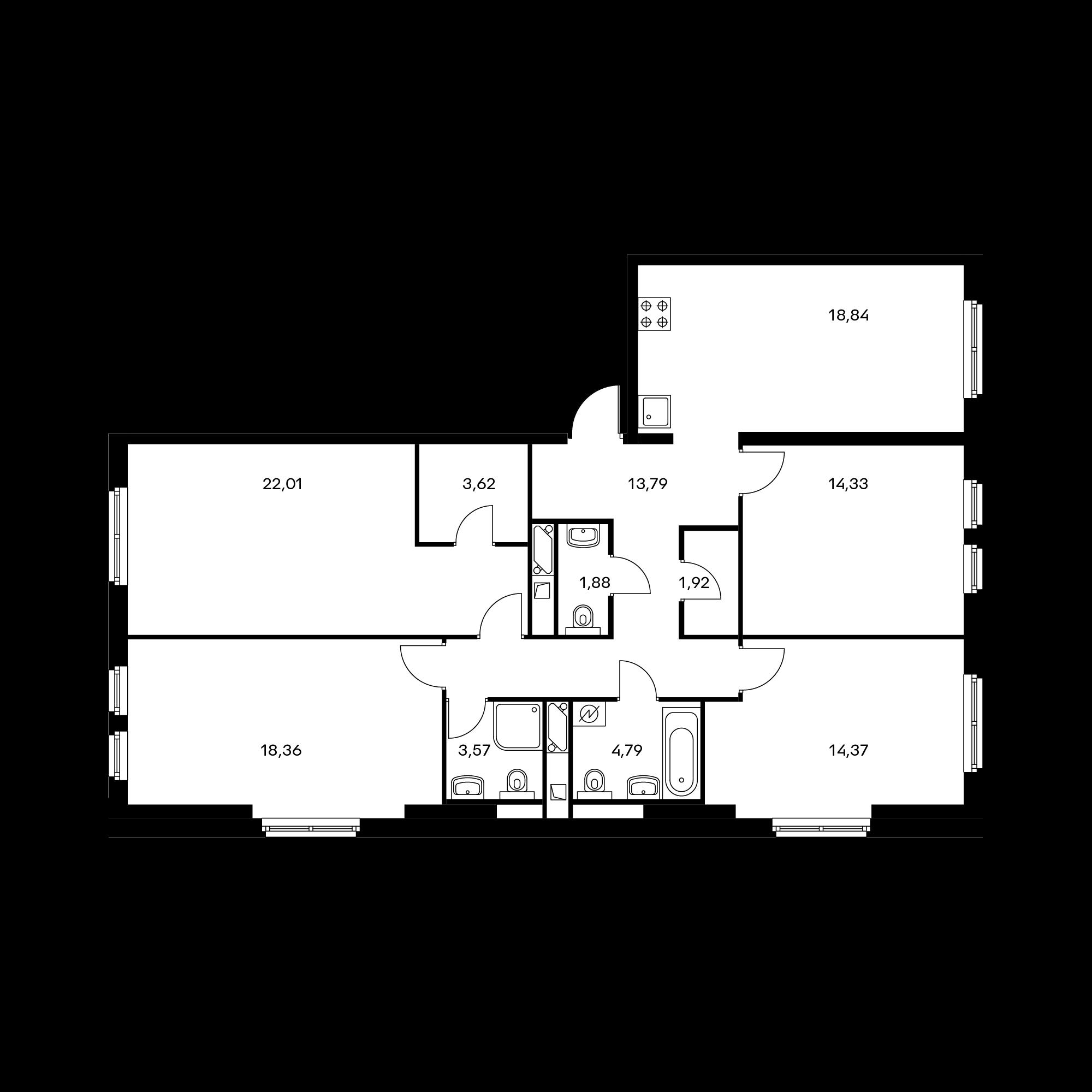 4-комнатная 117.5 м²