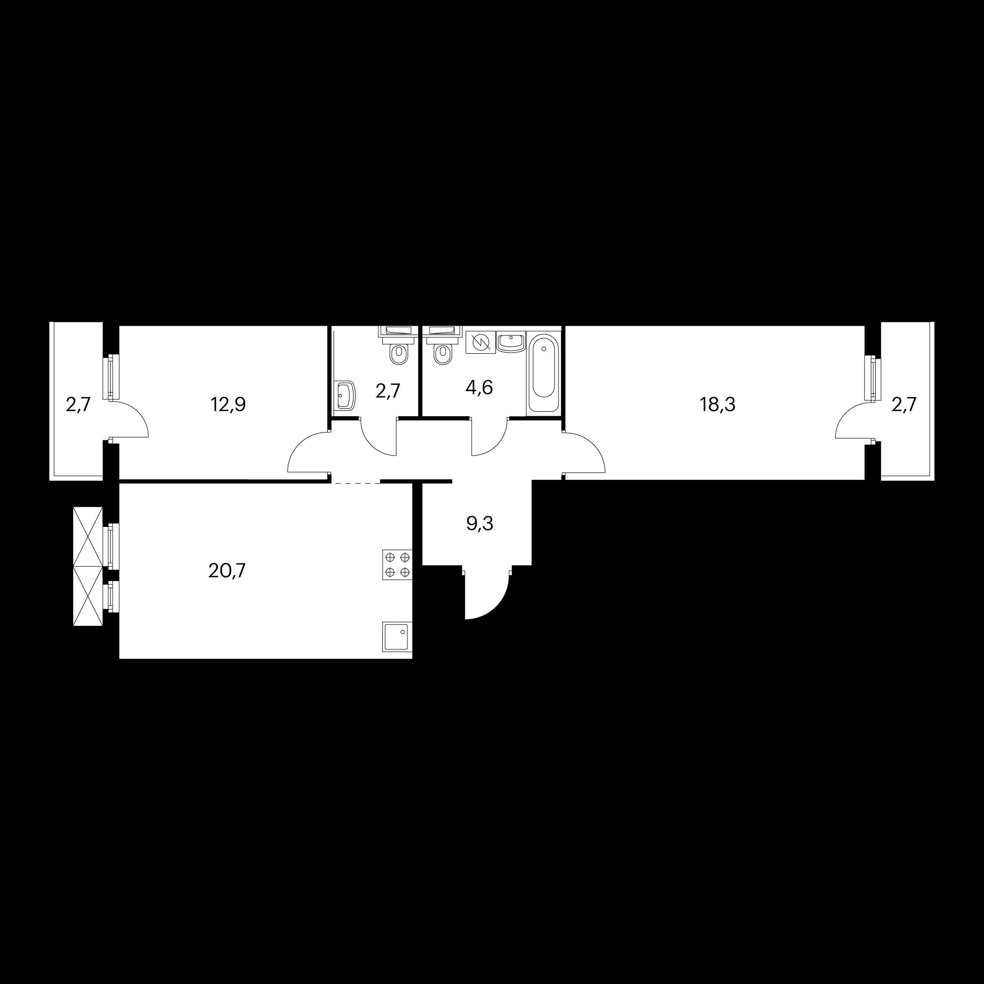 2-комнатная 70.3 м²