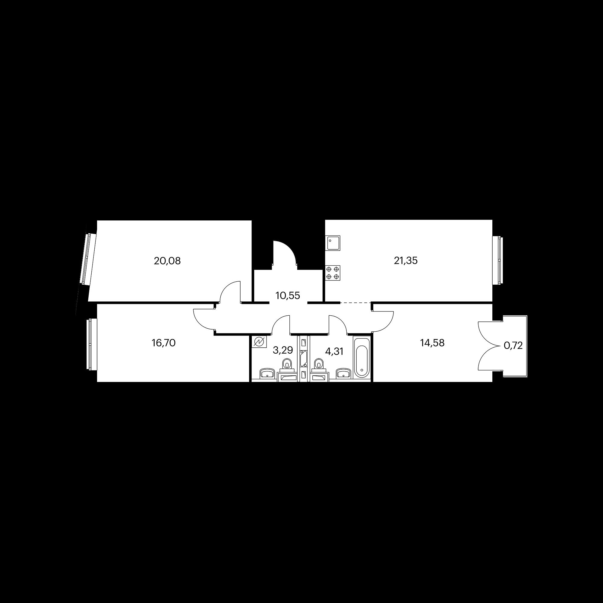 3-комнатная 91.57 м²