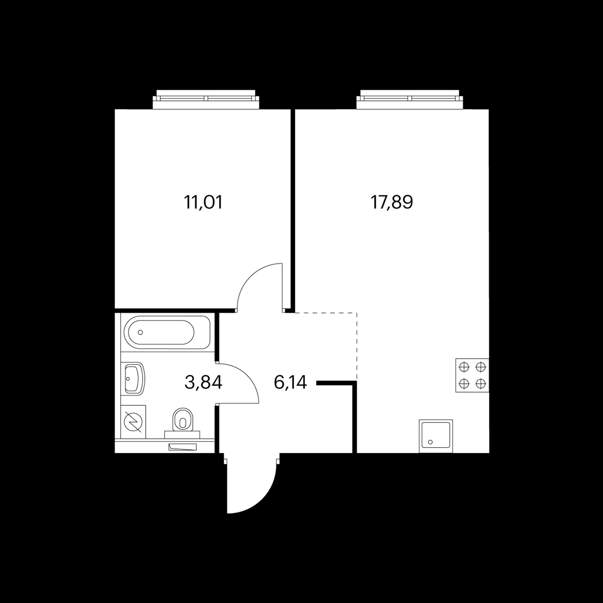 1-комнатная 38.88 м²