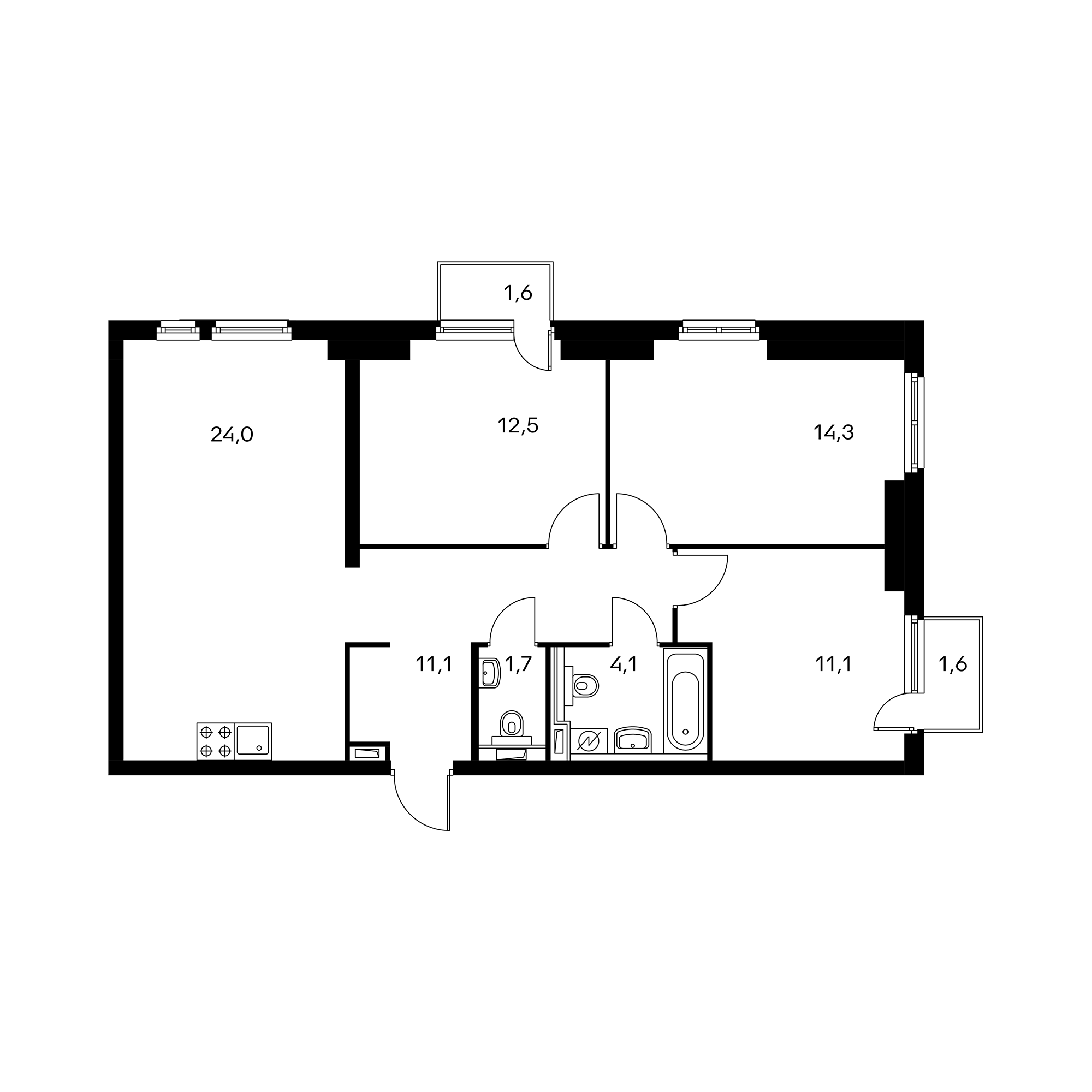 3-комнатная 79.8  м²
