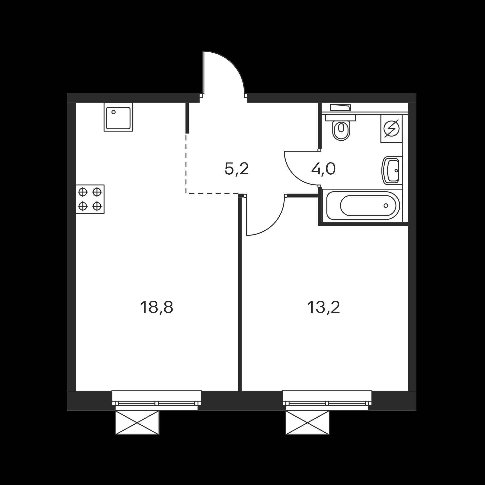 1-комнатная 41.2 м²