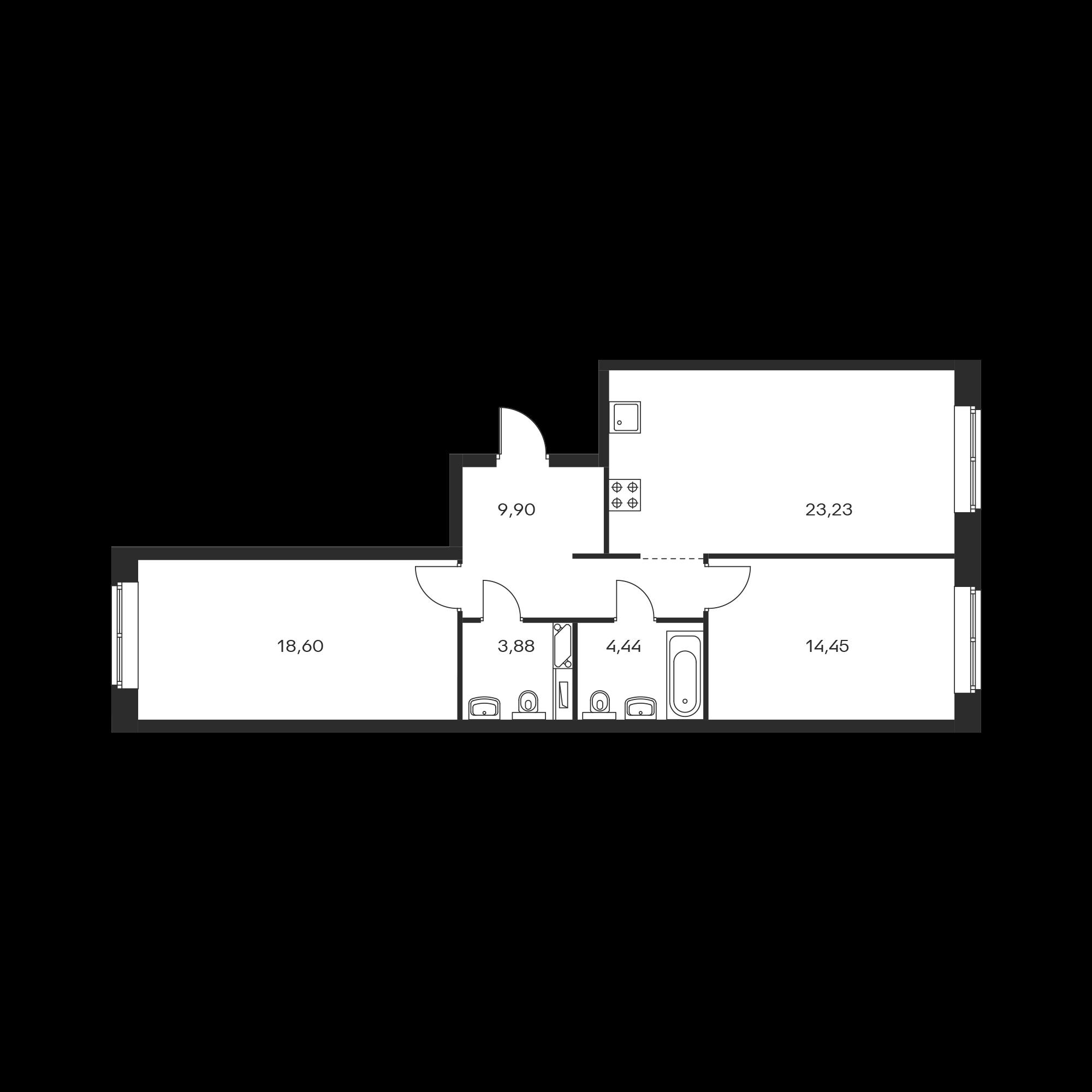 2-комнатная 74.5 м²