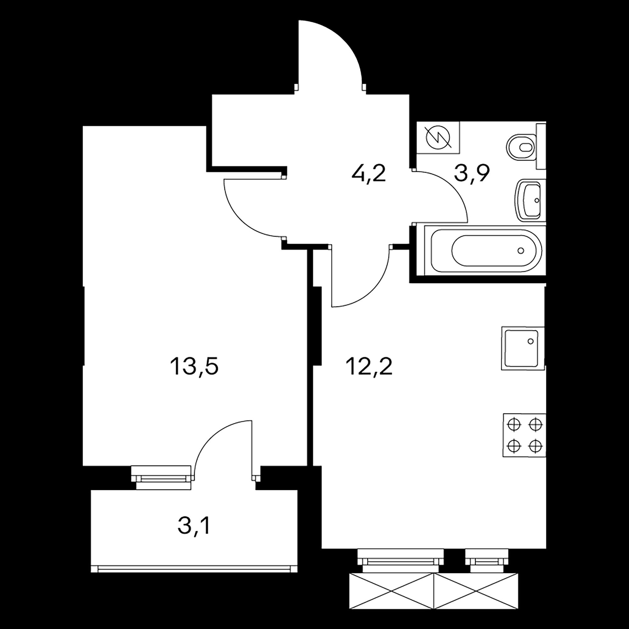1-комнатная 35.3  м²