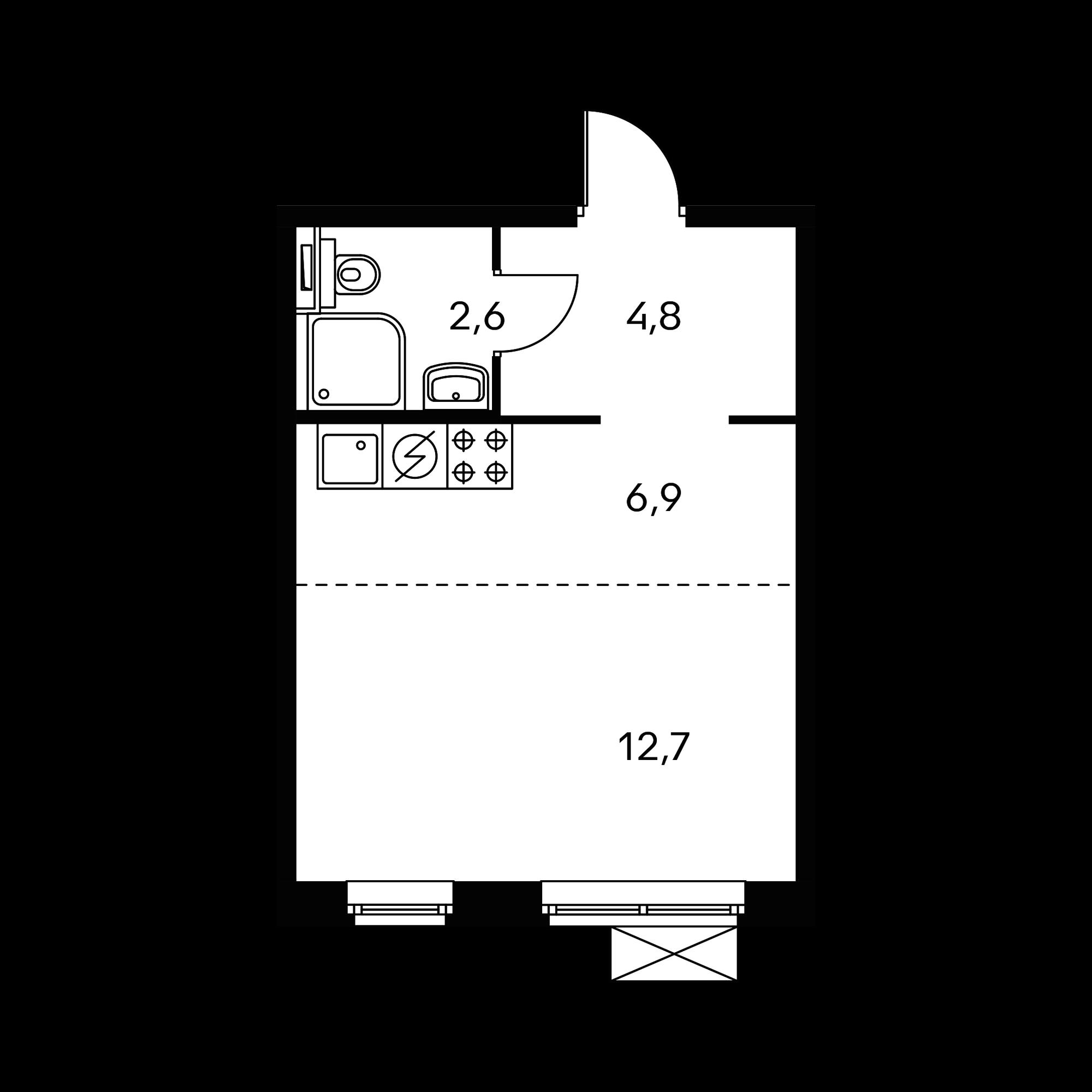 Студия 27.2  м²