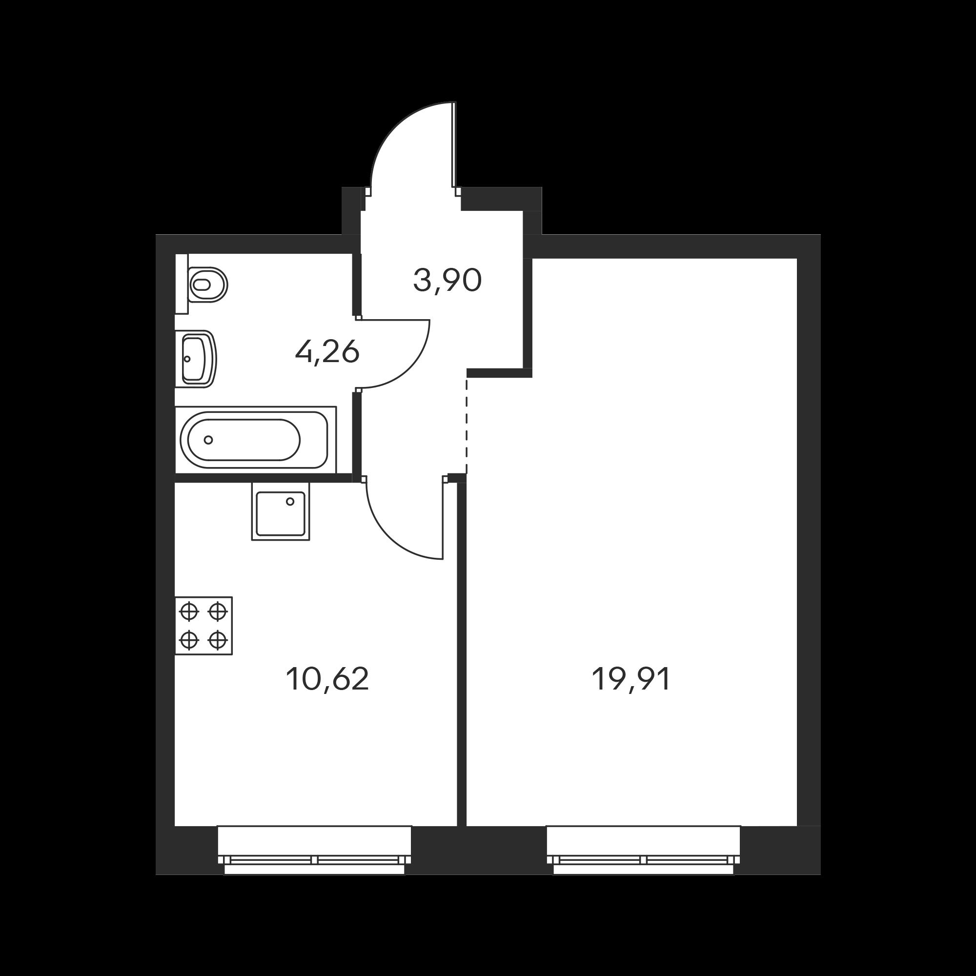 1-комнатная 38.69  м²