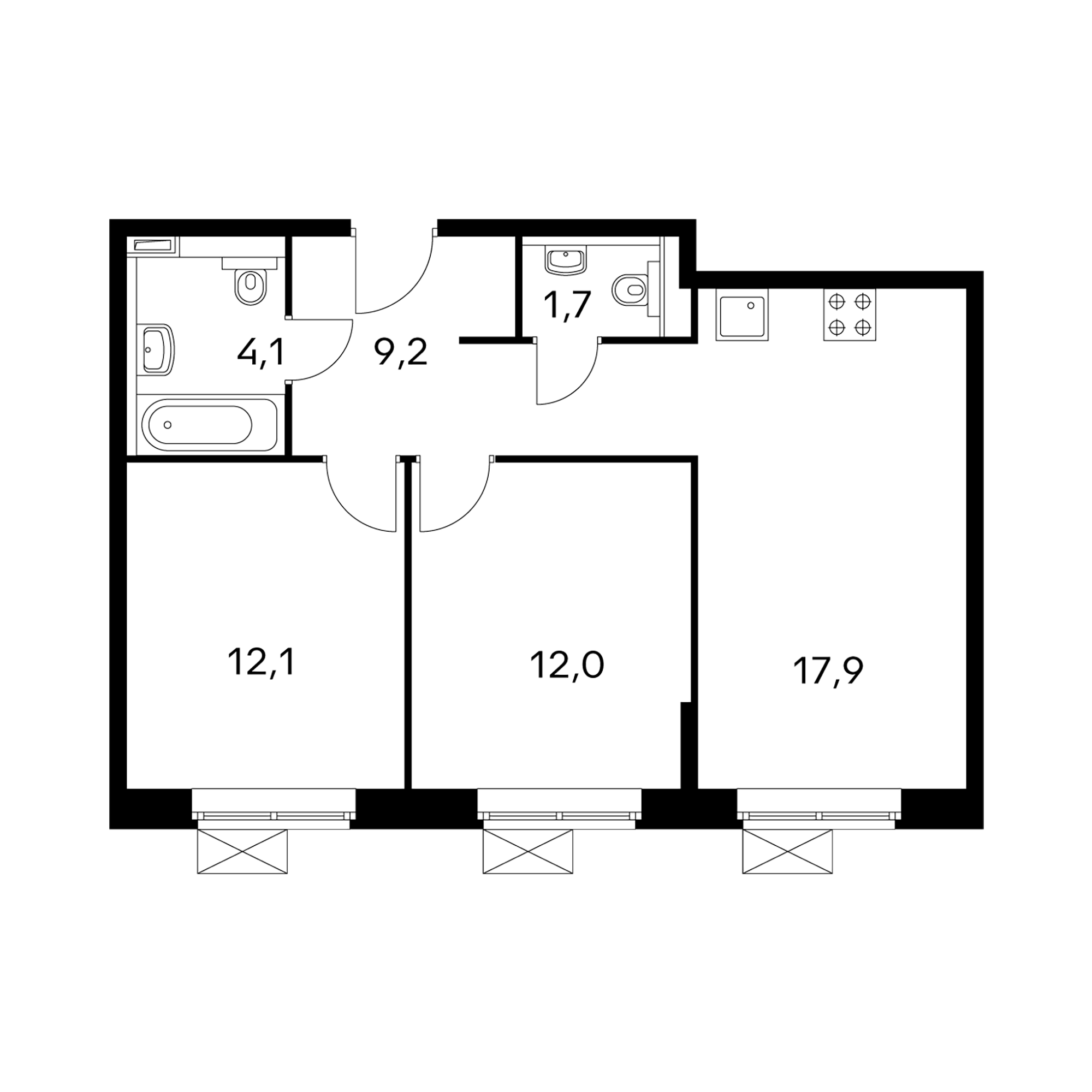 2-комнатные 57 м²