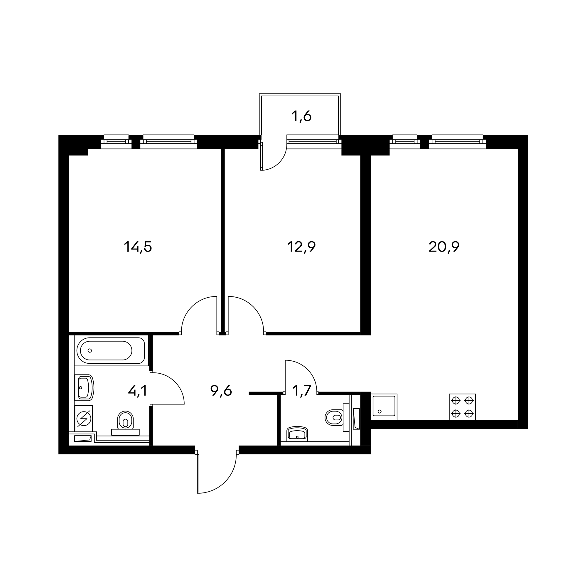 2-комнатная 64.2  м²