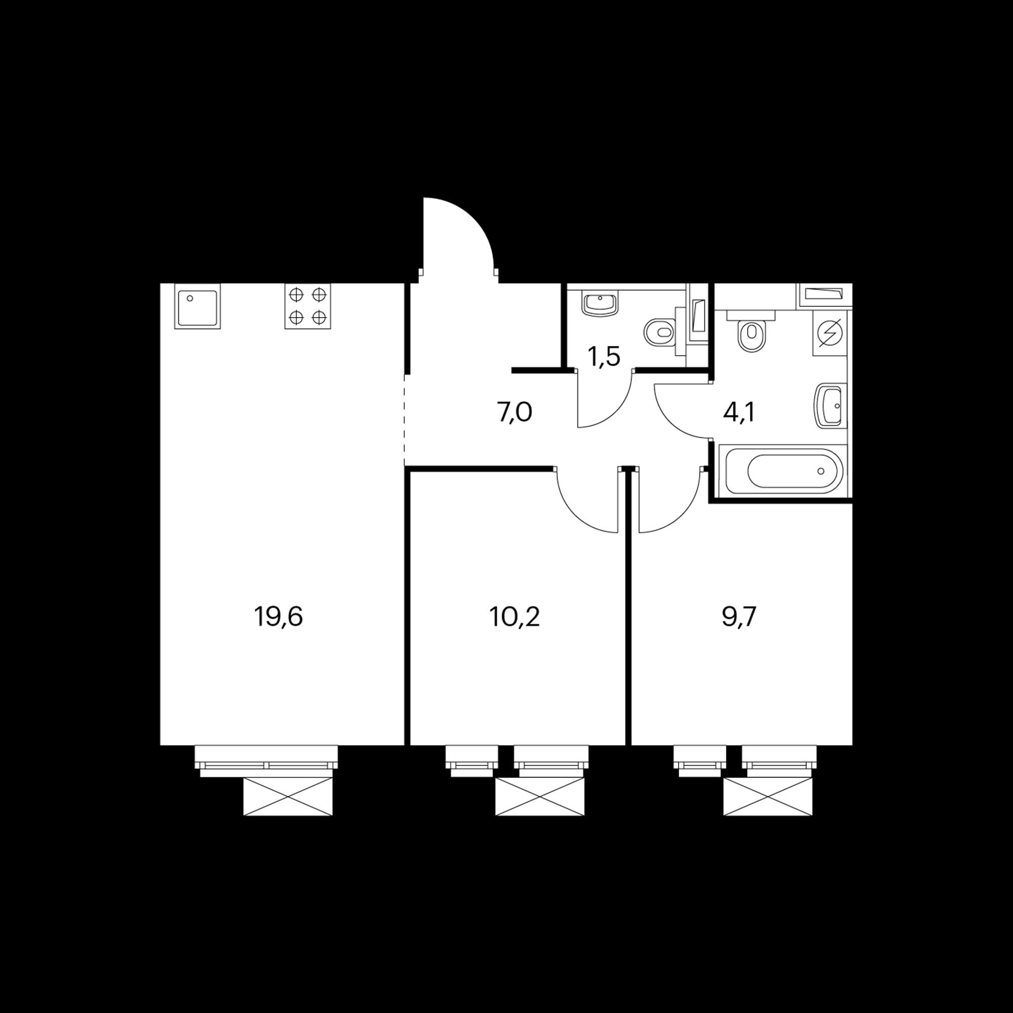 2-комнатная 52.9 м²