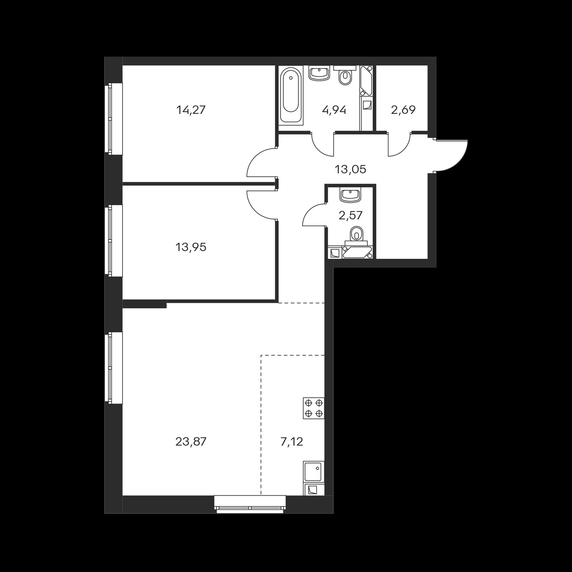 3-комнатная 82.46  м²