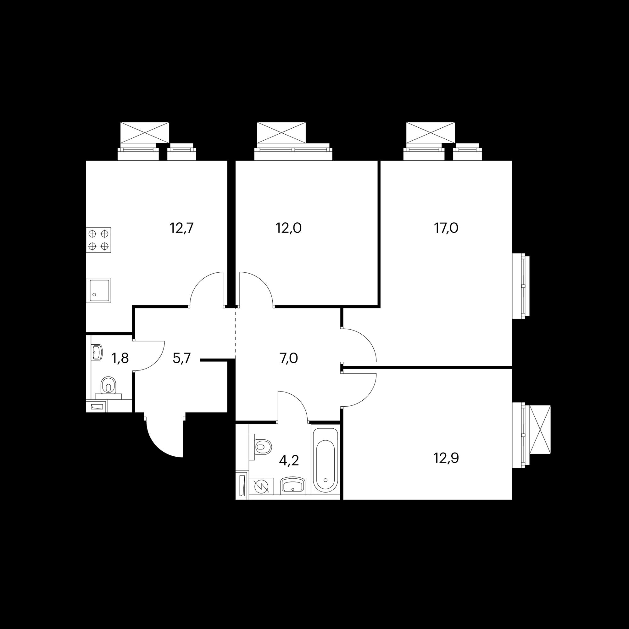 3-комнатная 72.5 м²