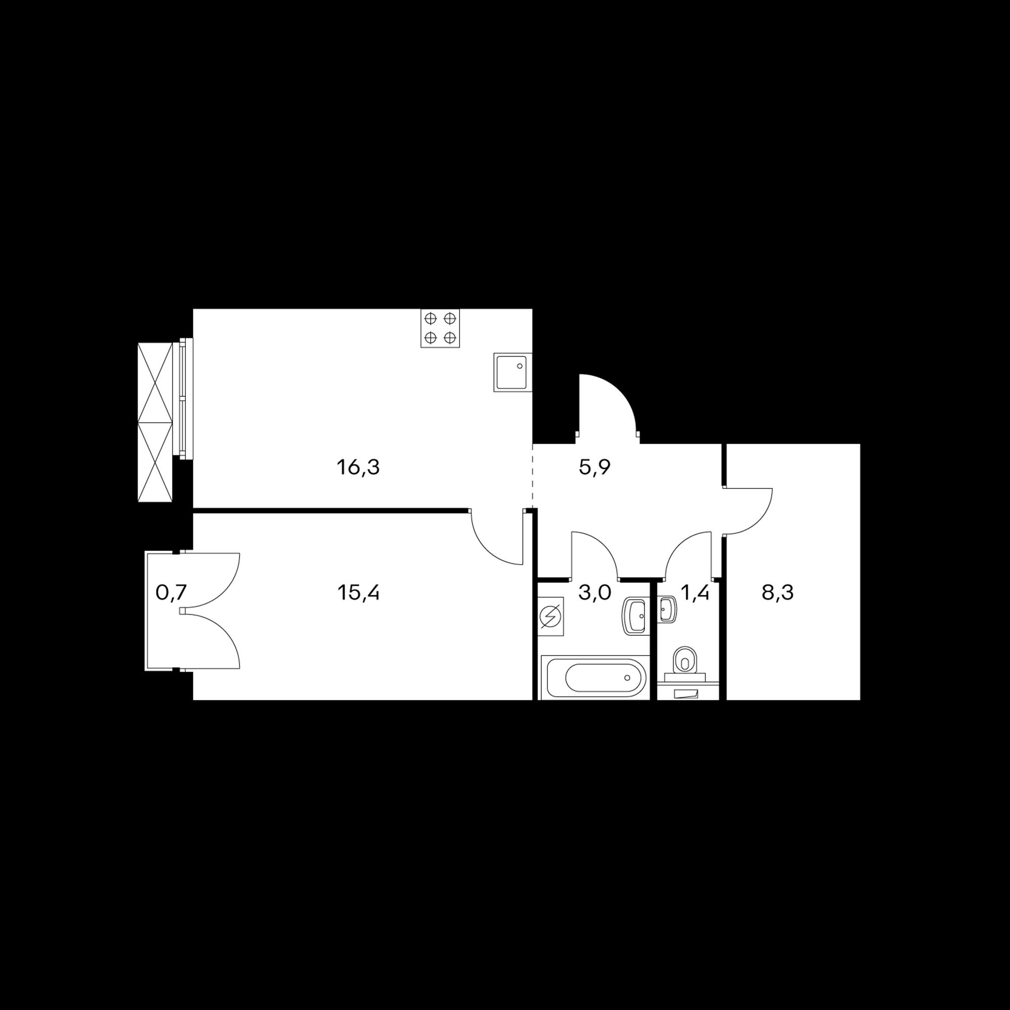 1-комнатная 50.5 м²