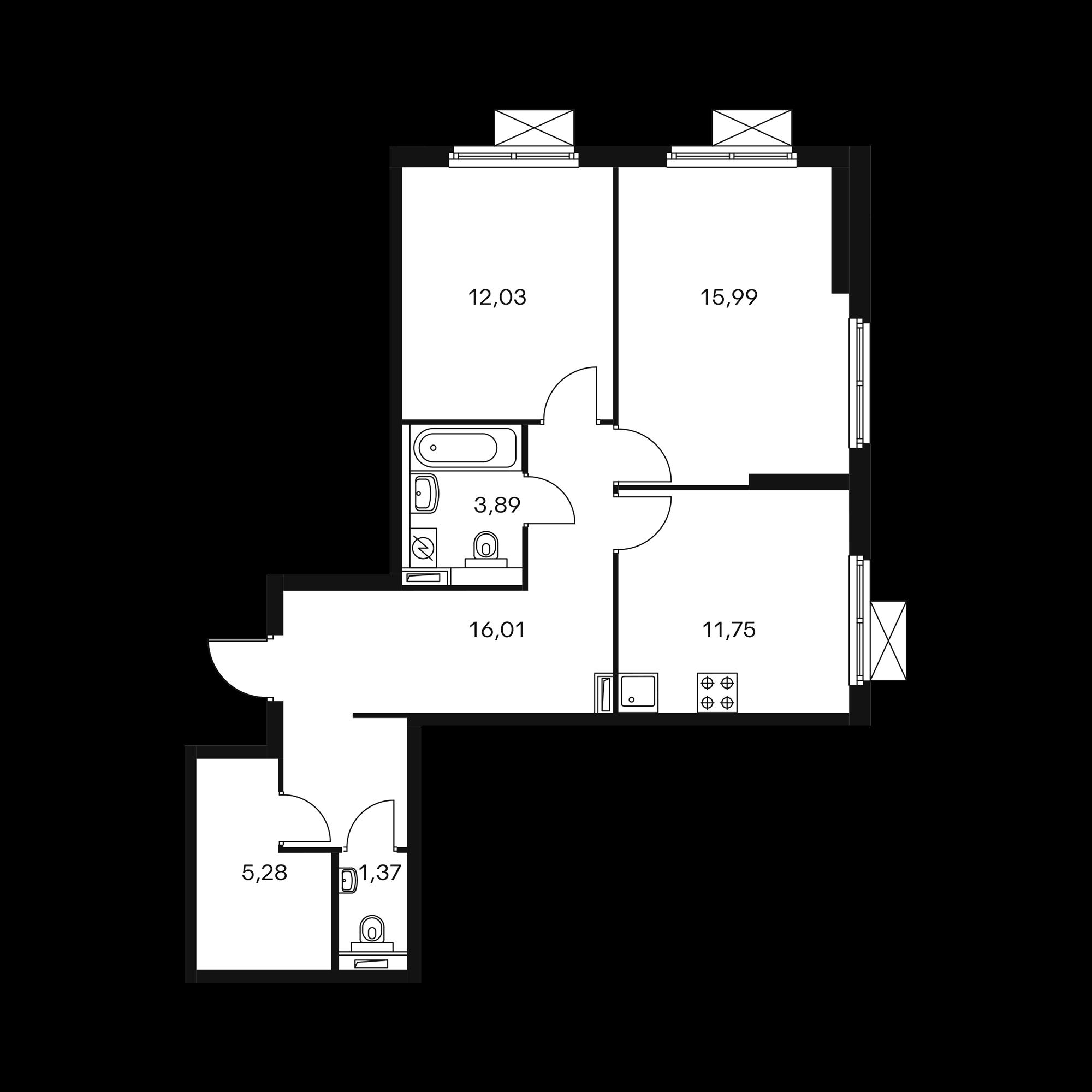 2-комнатная 66.75  м²