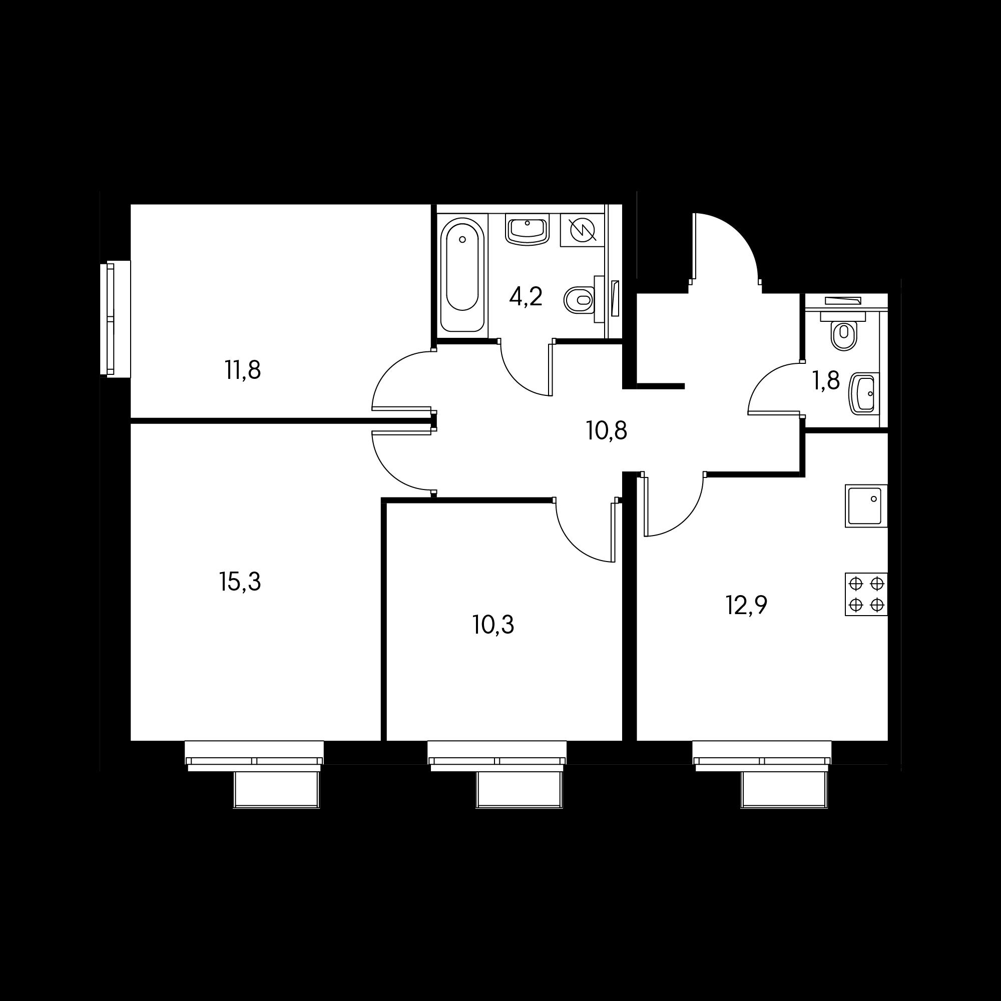 3-комнатная 67.1  м²