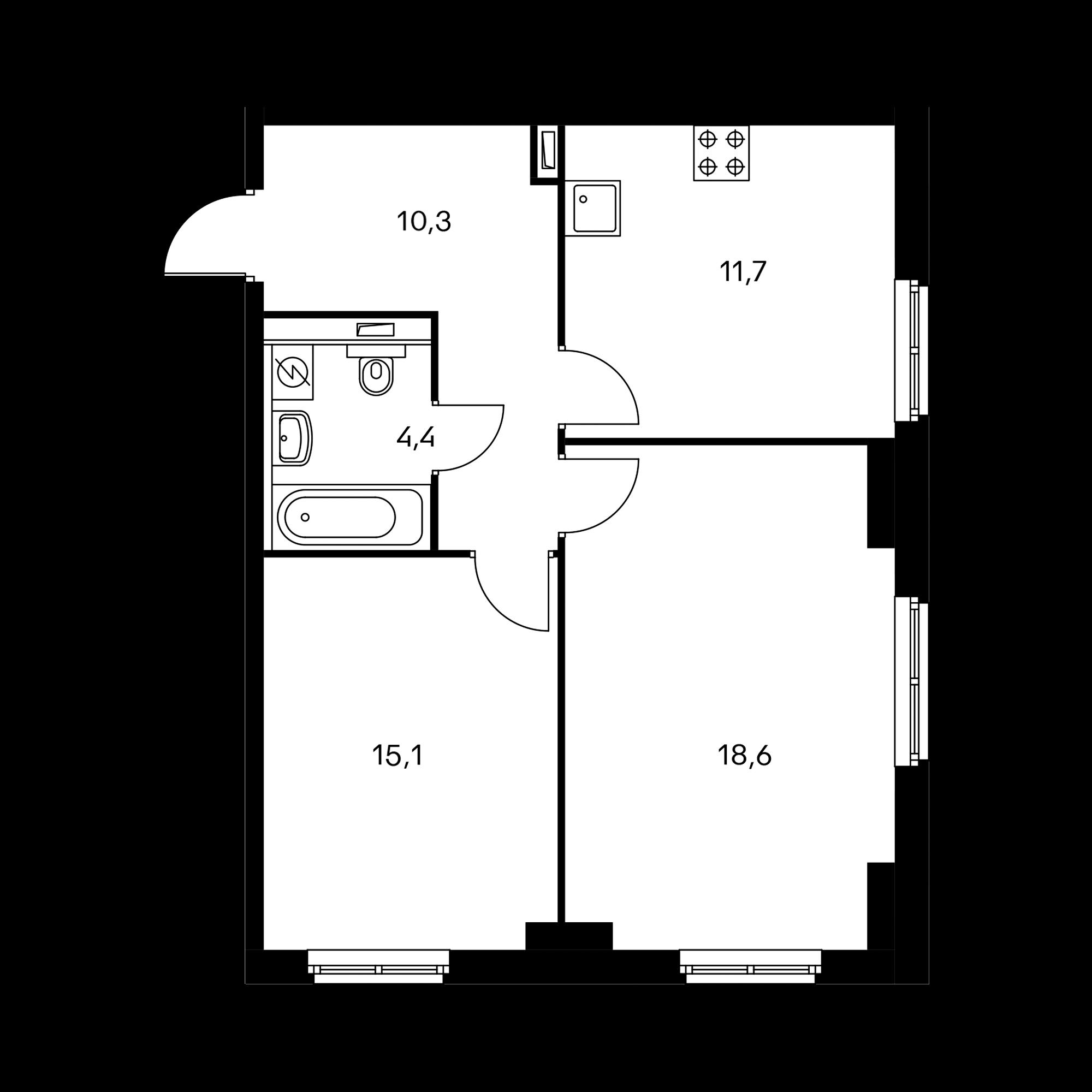 2-комнатная 60.1 м²