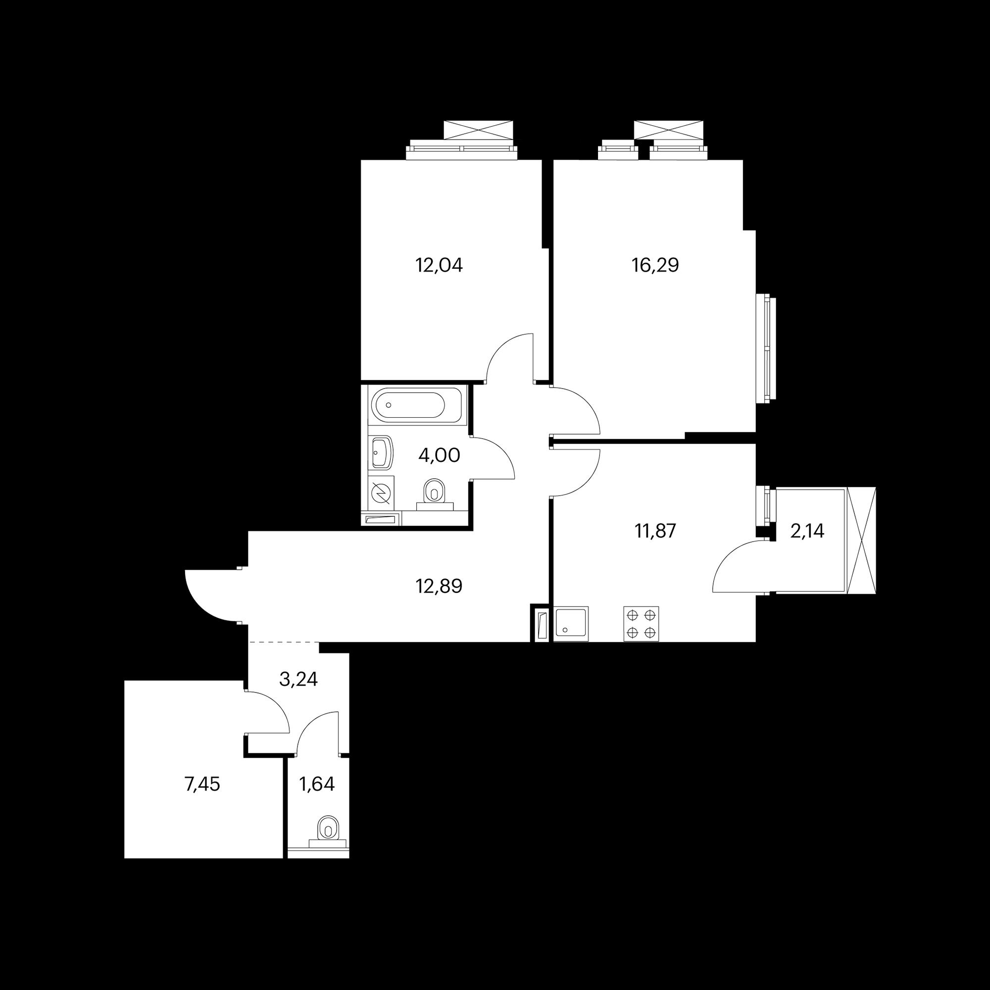 2-комнатная 70.06 м²