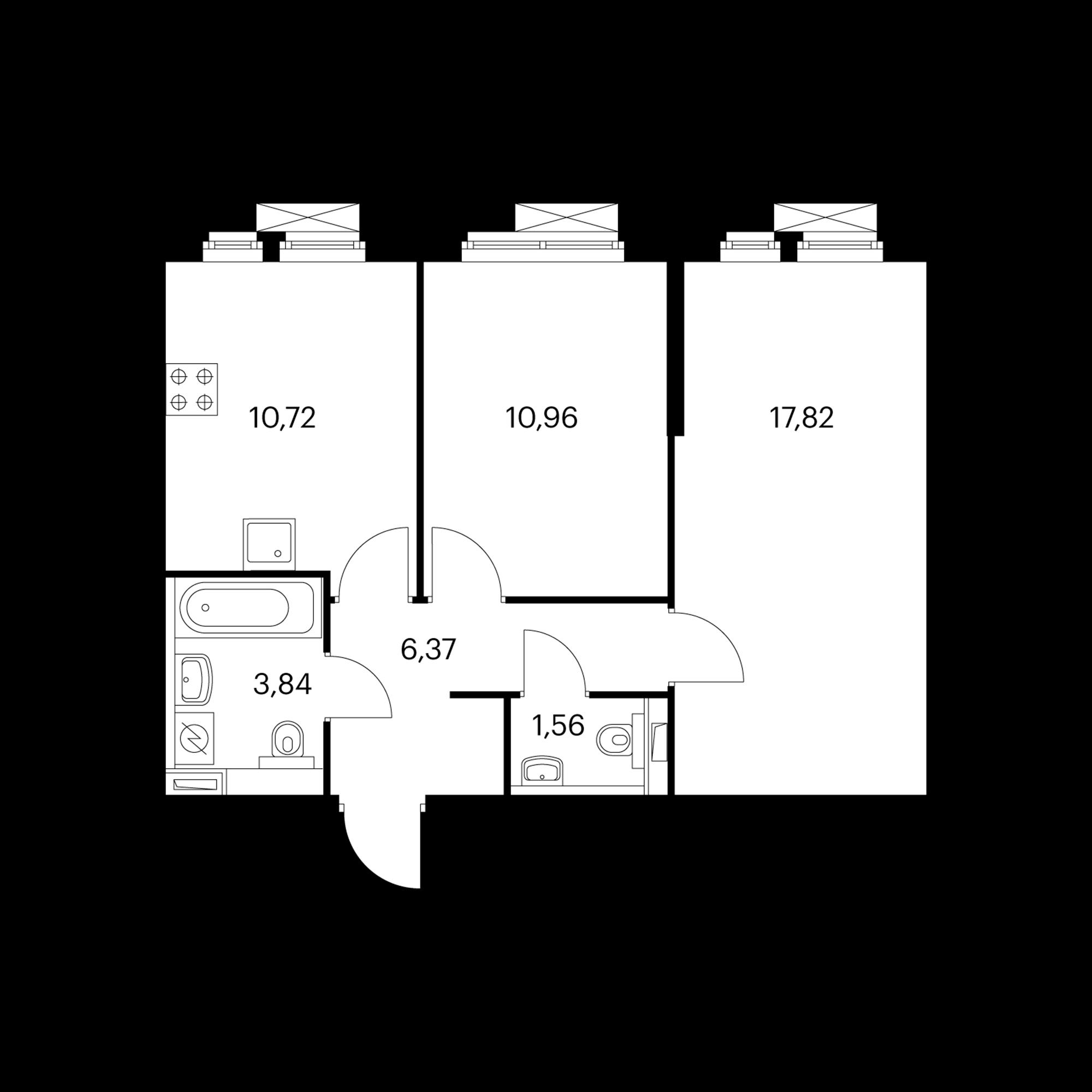 2-комнатная 51.27 м²