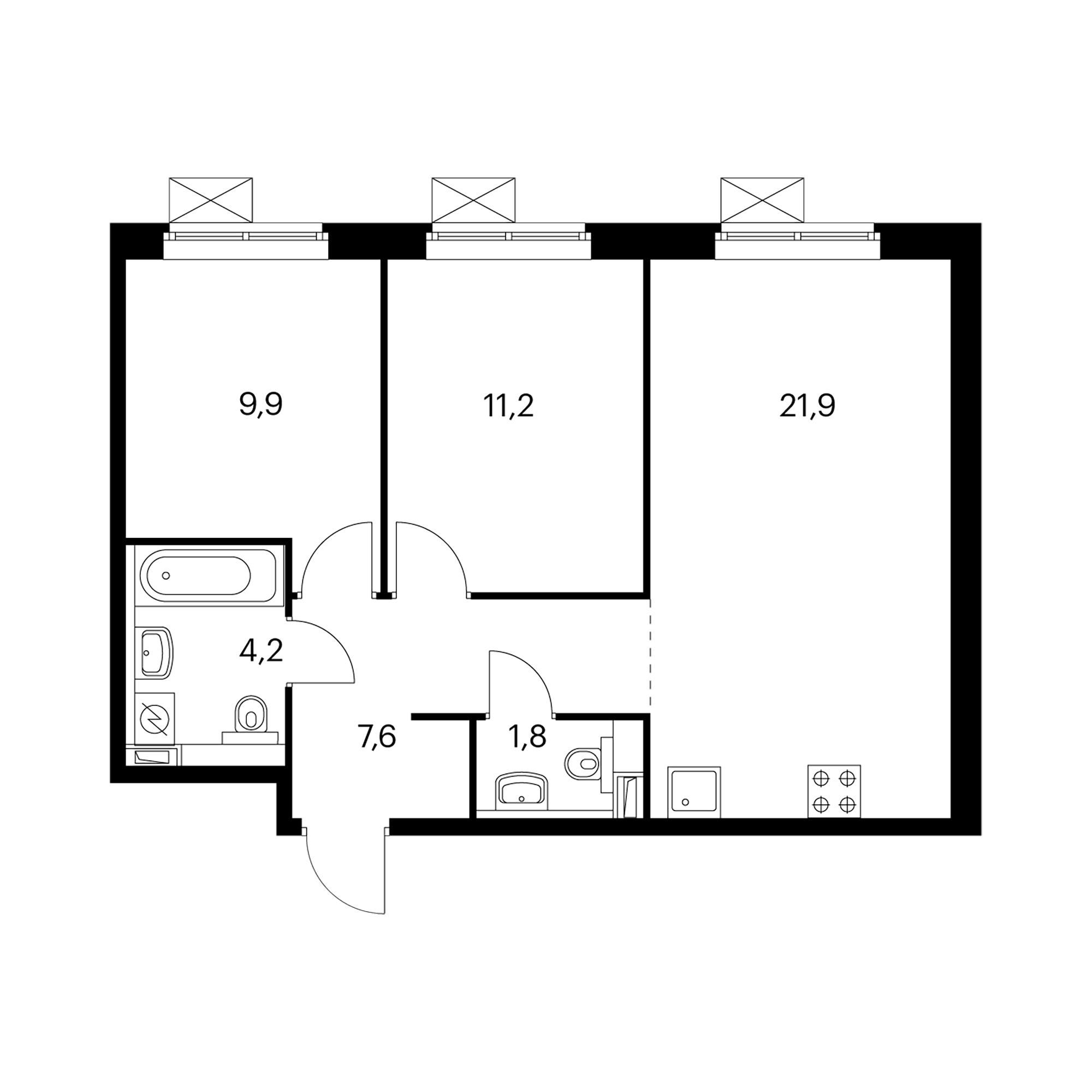2-комнатная 56.5 м²