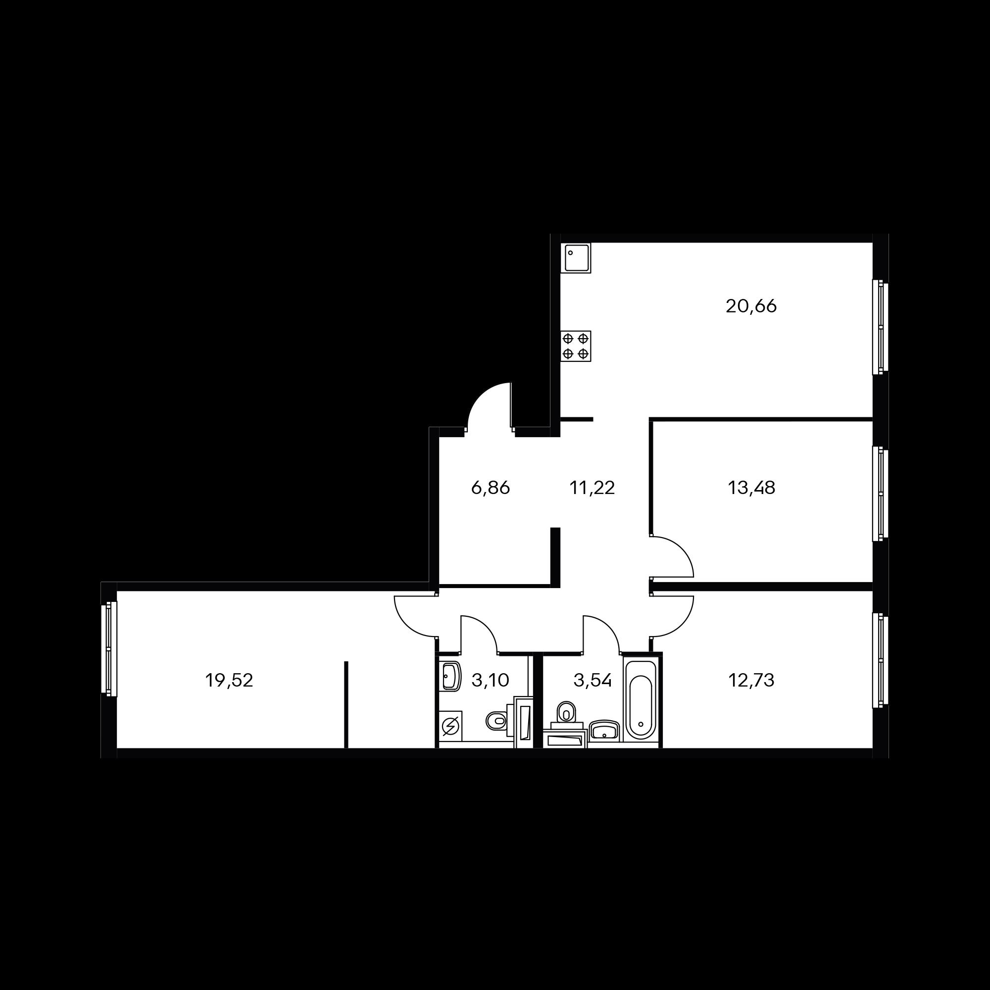 3-комнатная 91.11  м²