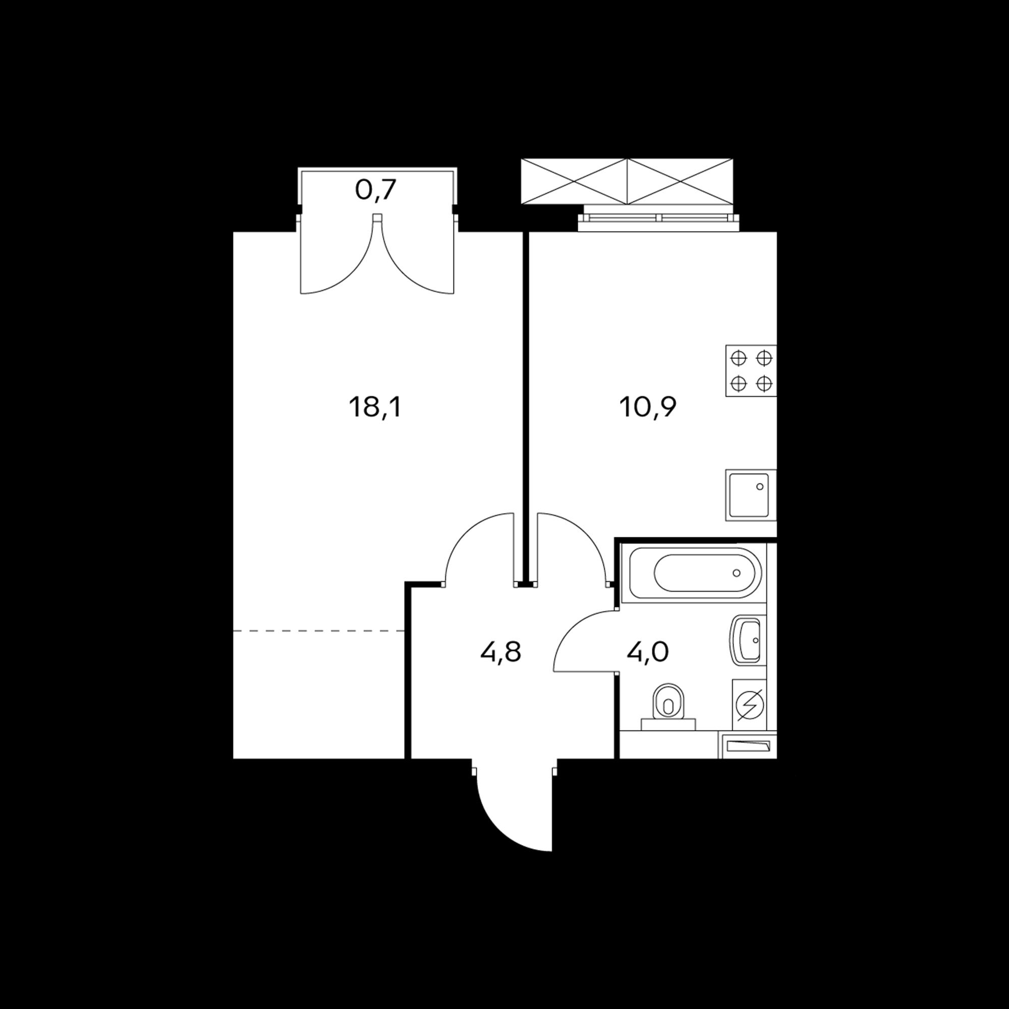 1-комнатная 38 м²