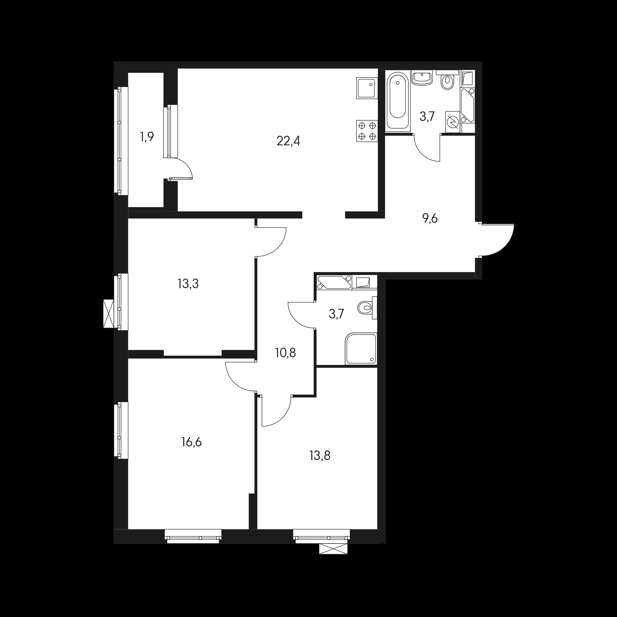 3-комнатная 96.4 м²