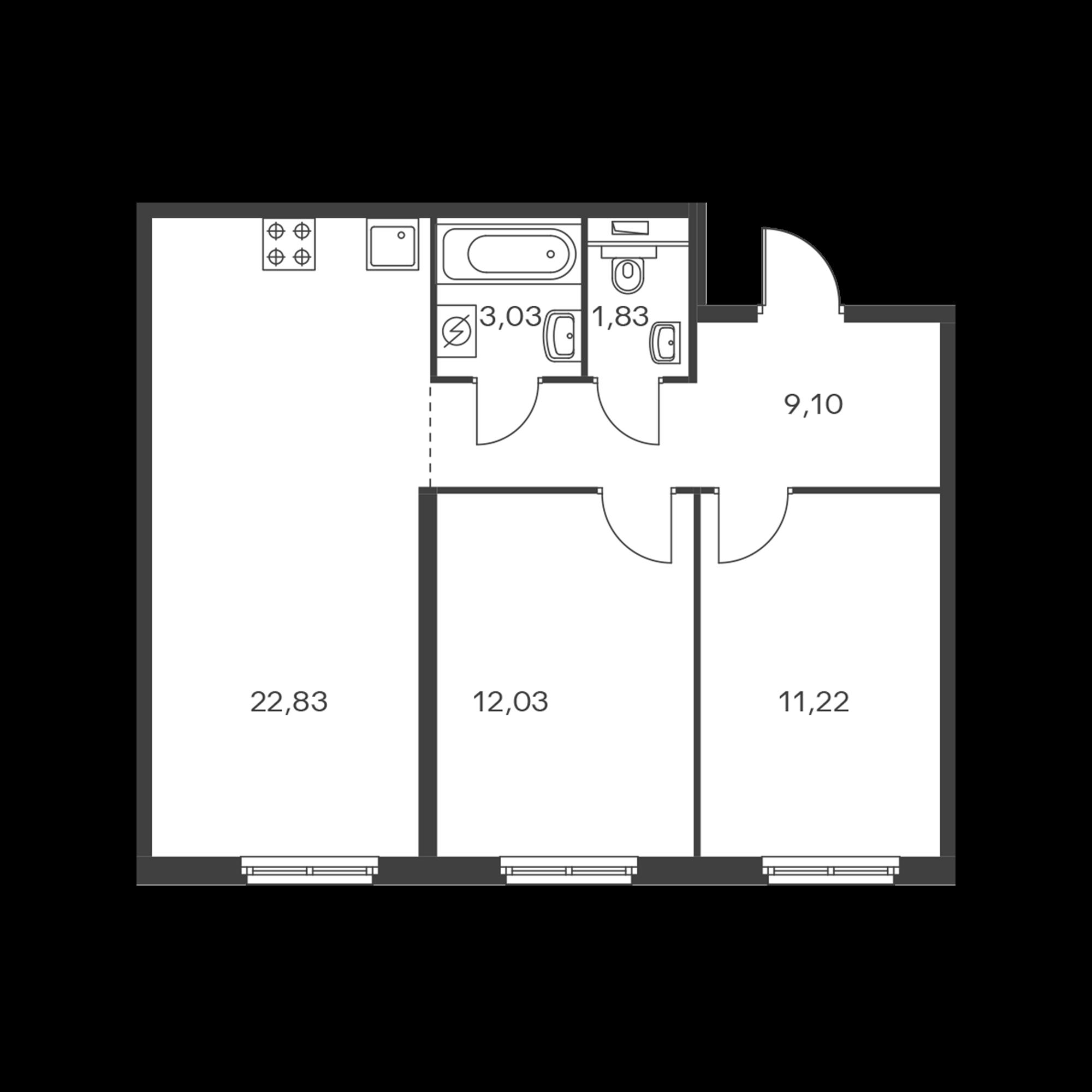 2-комнатная 60.04 м²