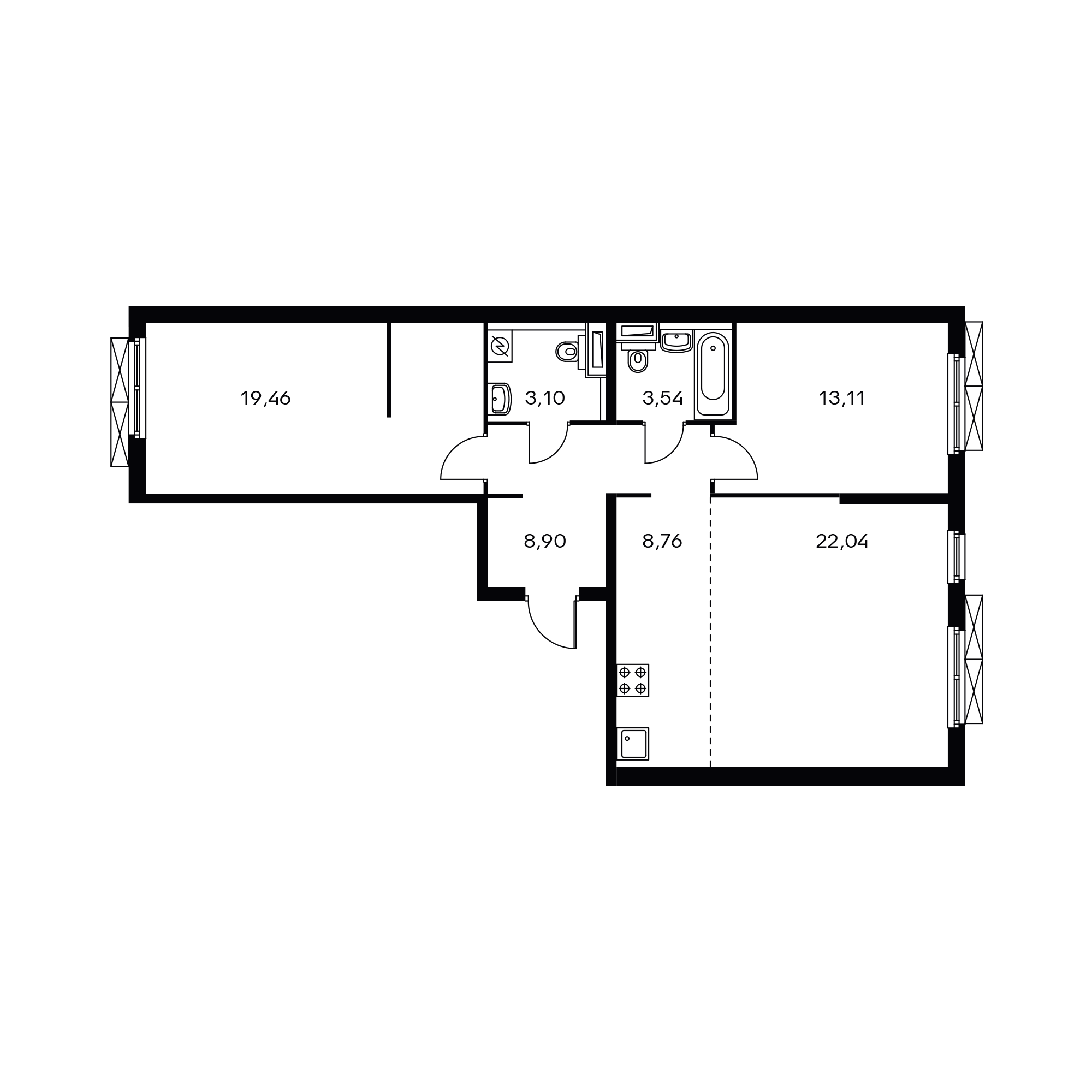 3-комнатная 78.93 м²