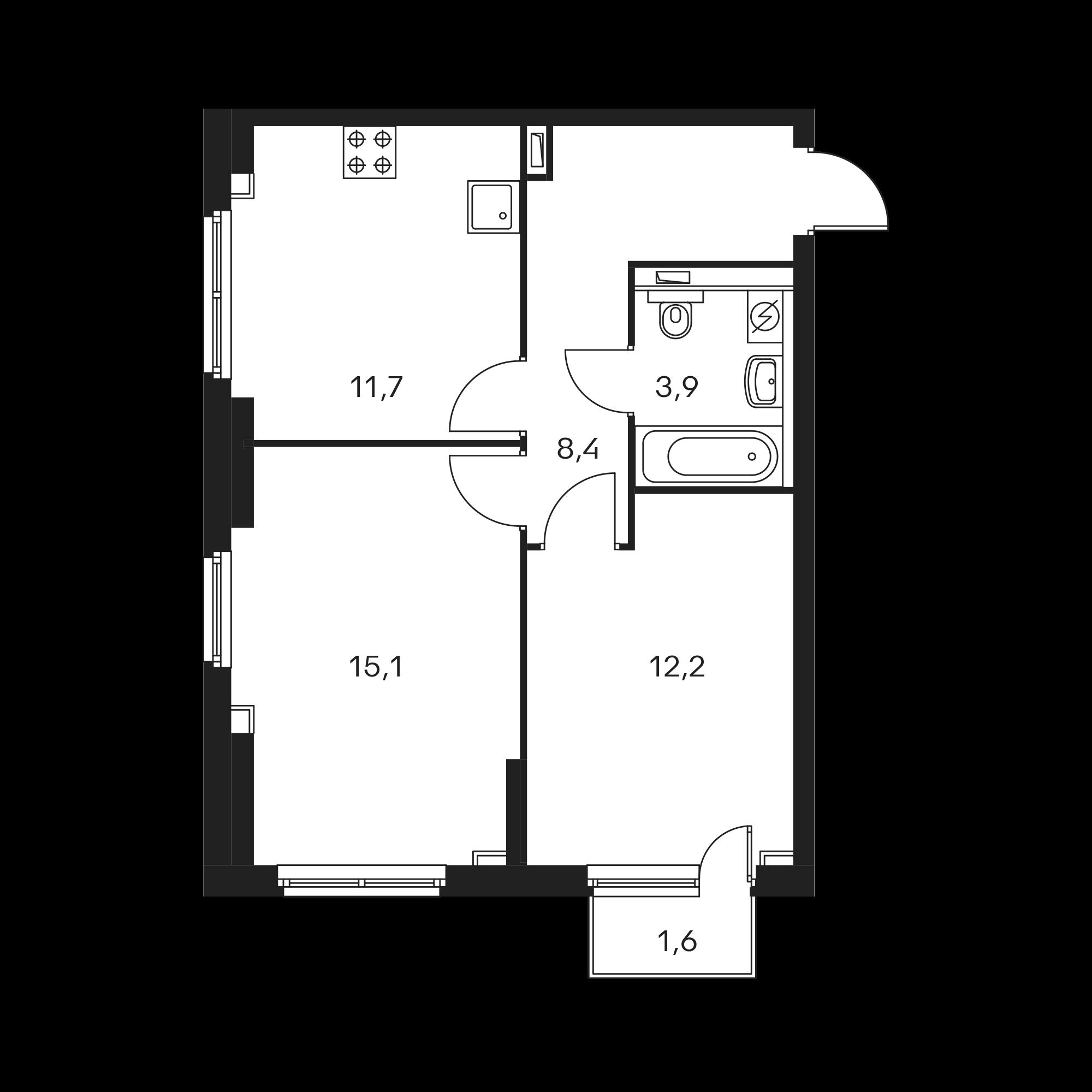 2-комнатная 51.8  м²