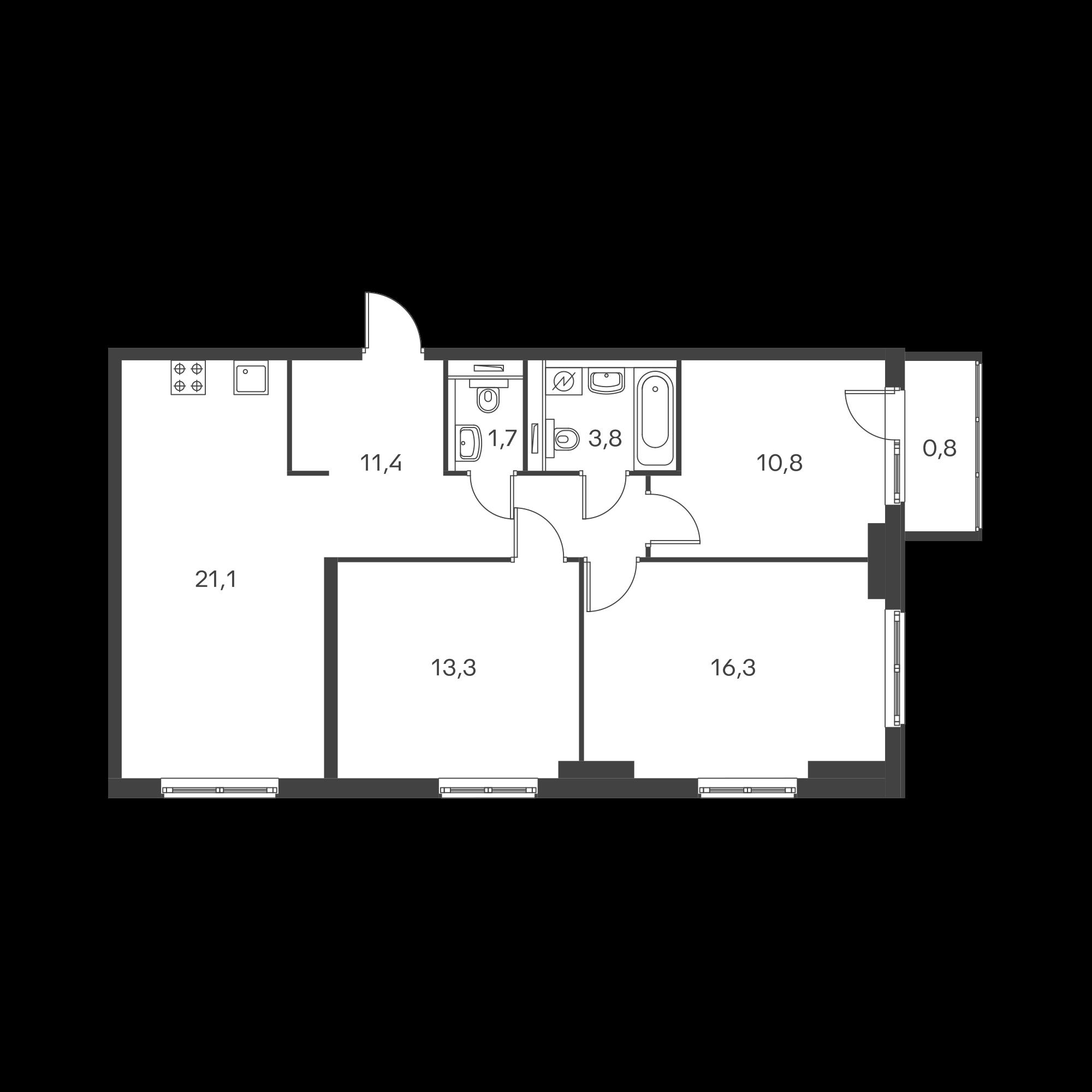 3-комнатная 78.7 м²