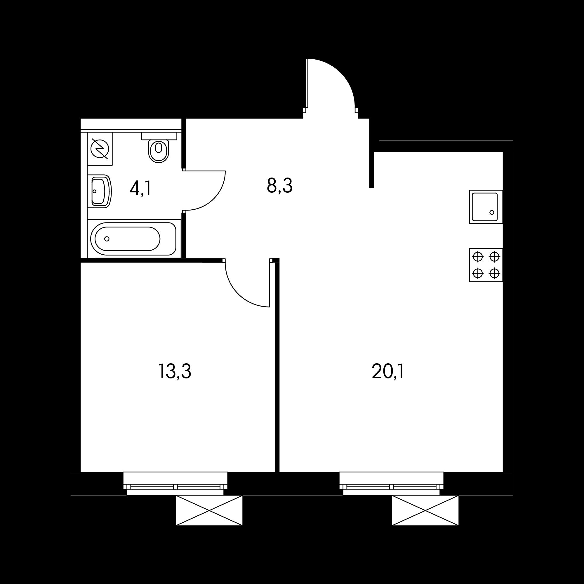 1-комнатная 45.8 м²